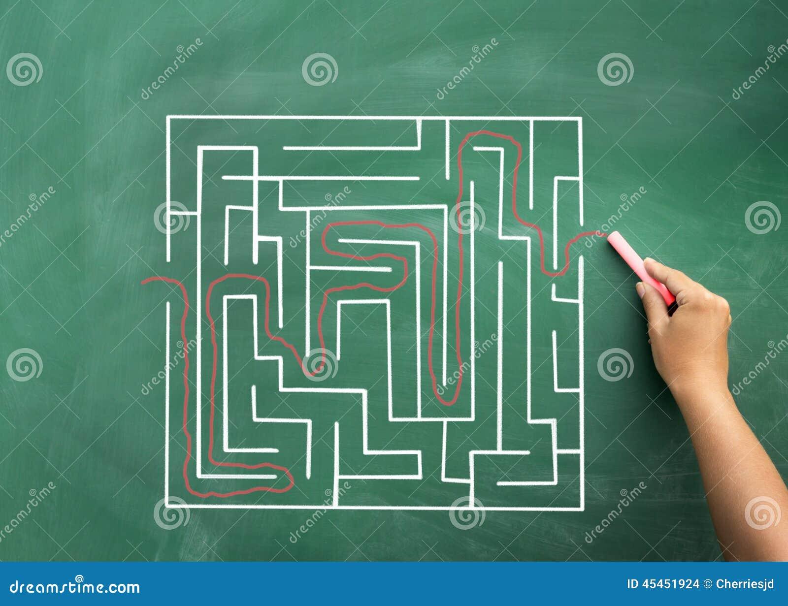Main résolvant le labyrinthe dessiné sur le tableau noir