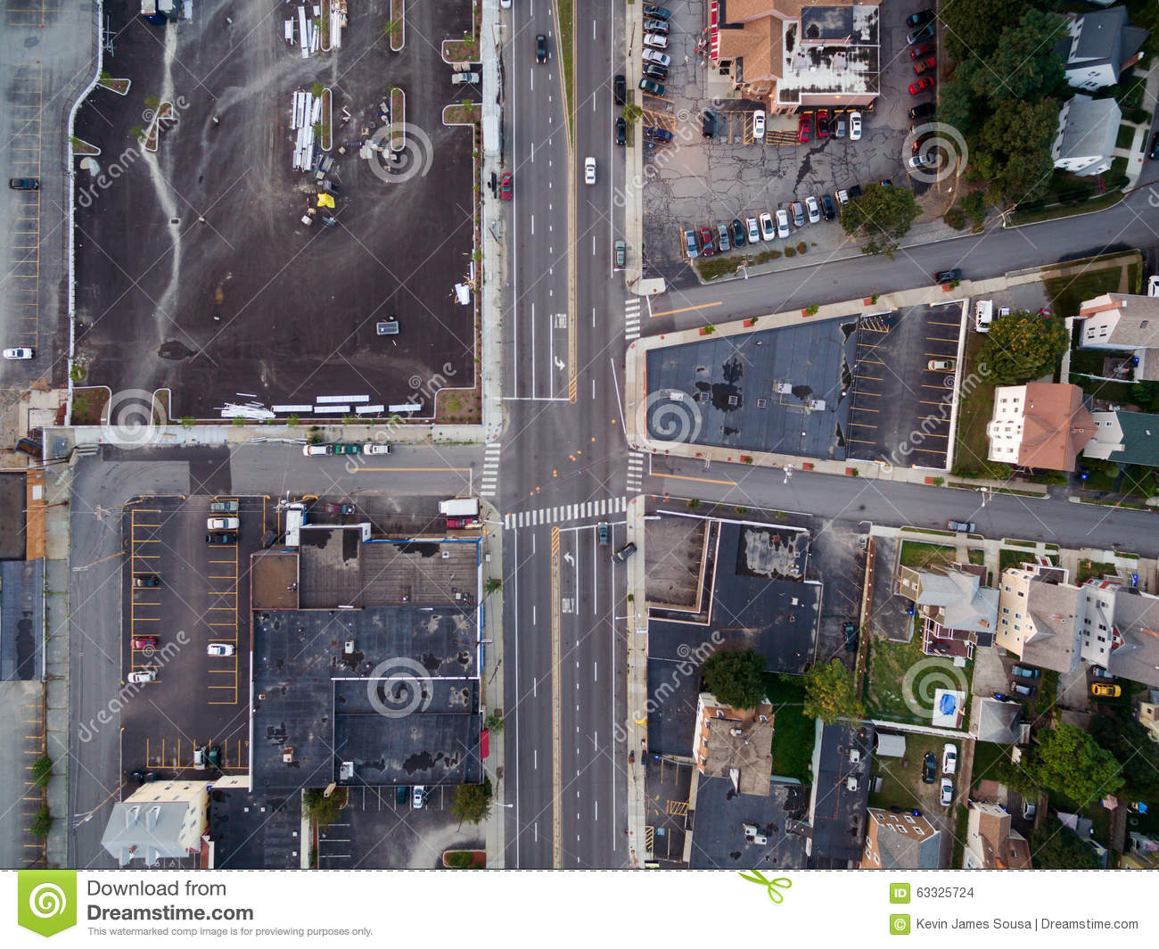 Main road from above via a drone in a small city