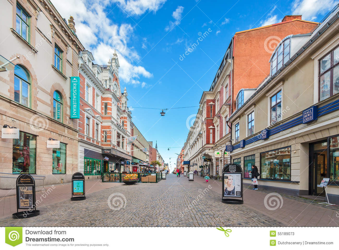 The Main Shopping Street In City Center Of Karlskrona Swede