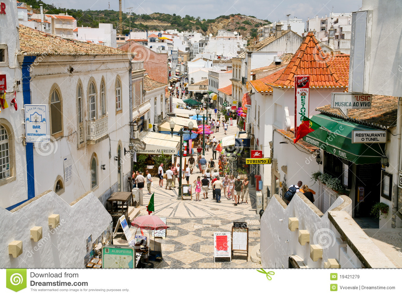 Main Street In Albufeira Portugal Editorial Stock Image