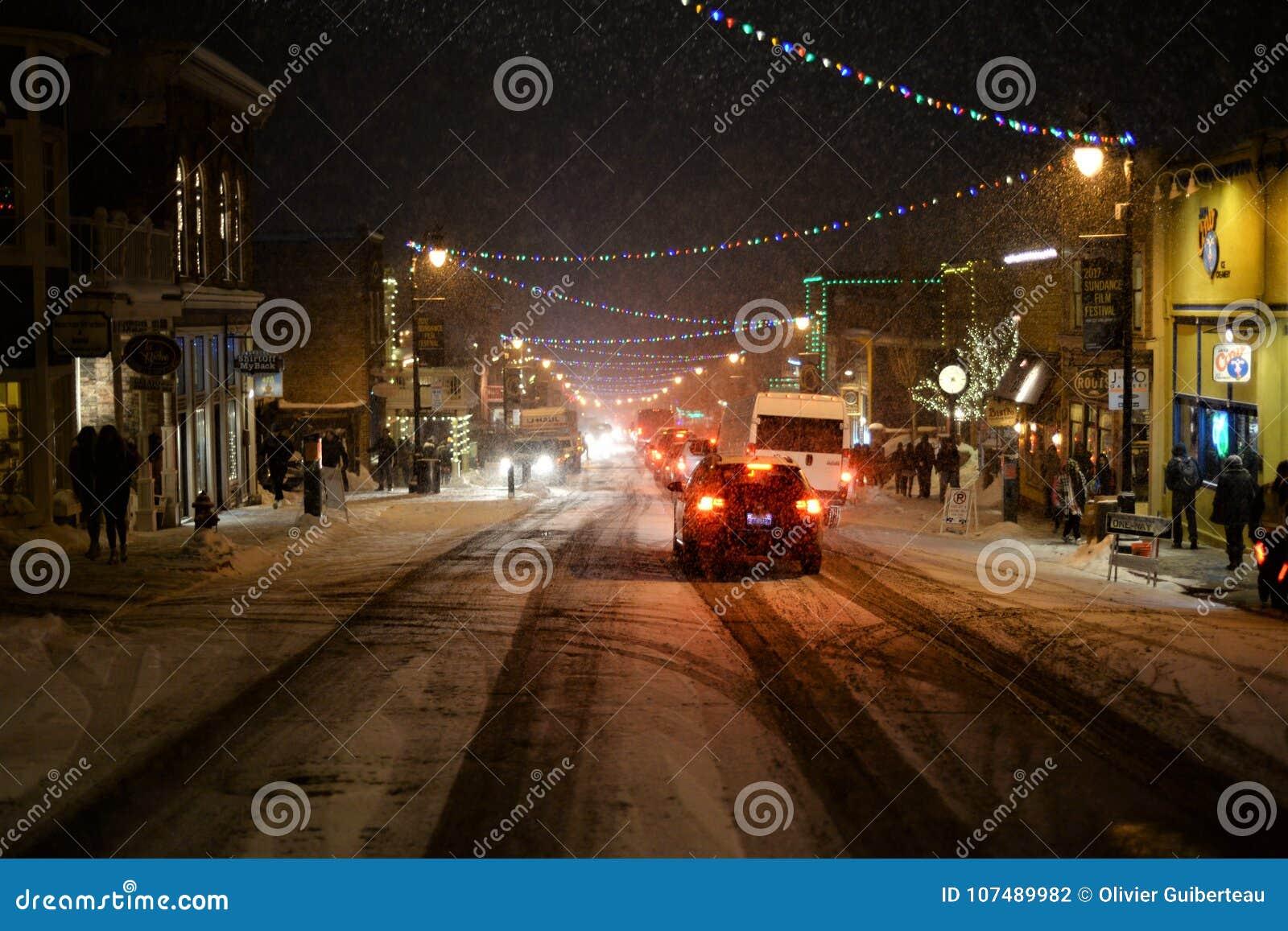Main Street en la nieve
