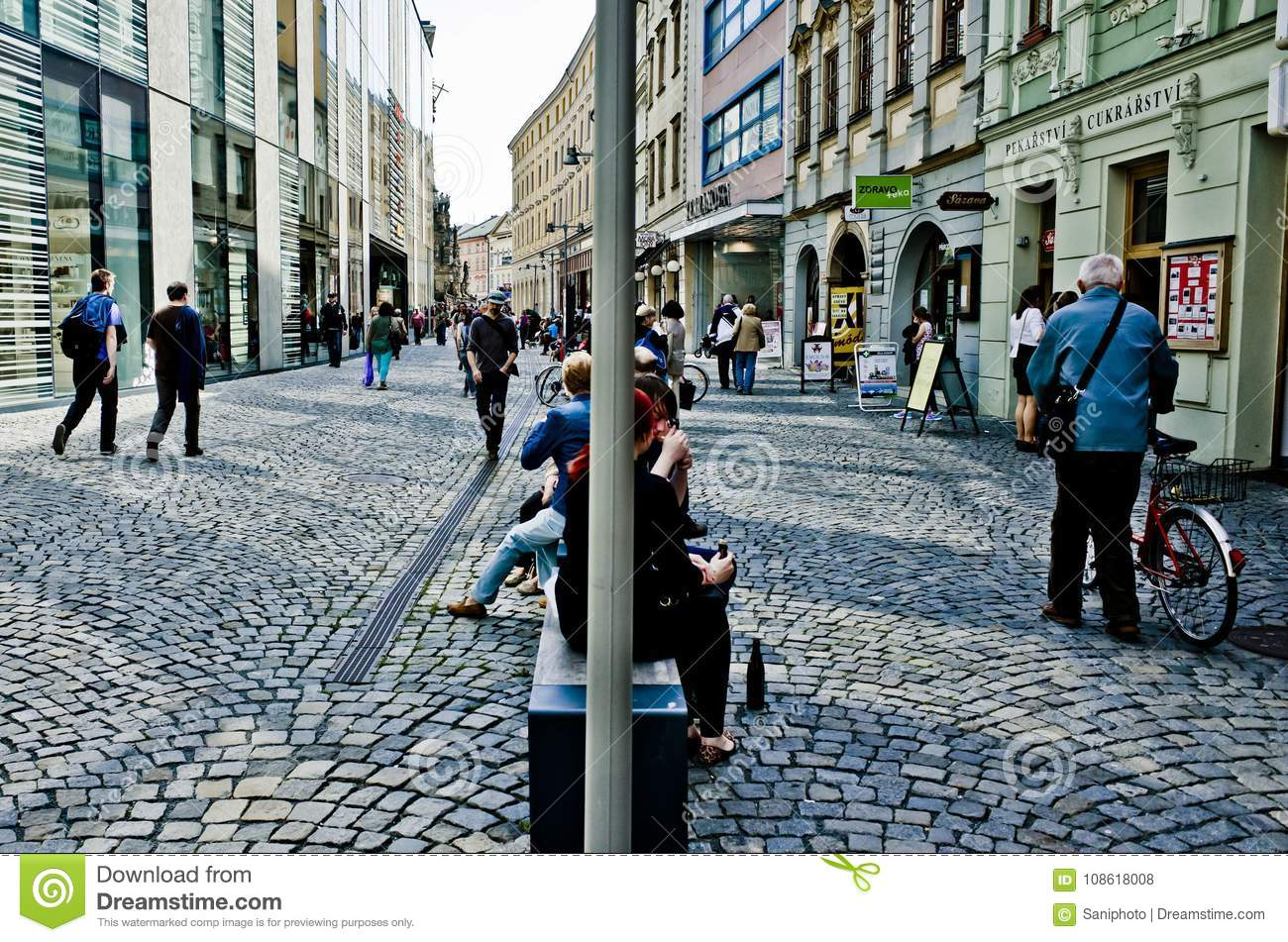 Street of Olomouc busy with people