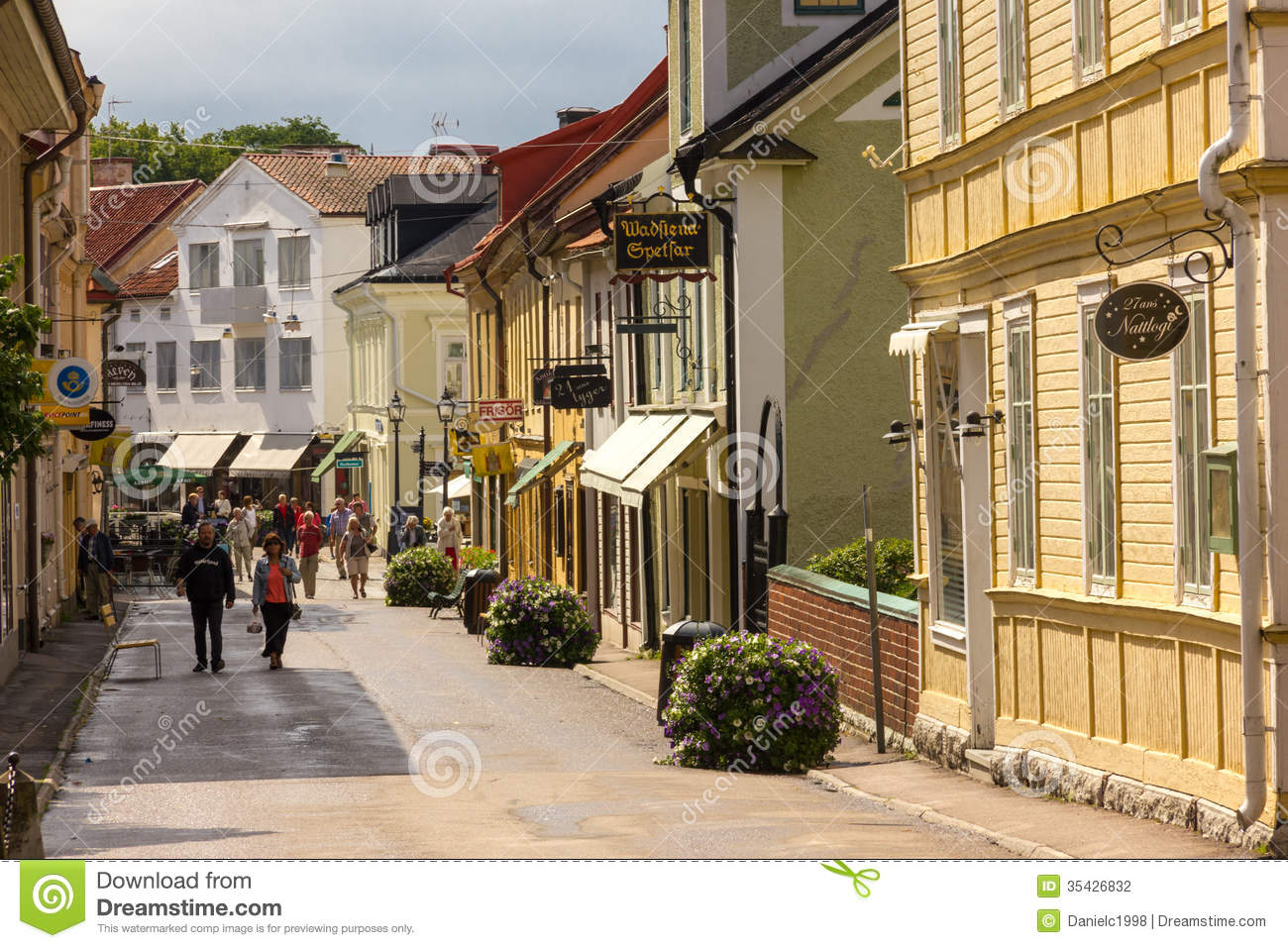 Main Street Vadstena Sweden Editorial Photography
