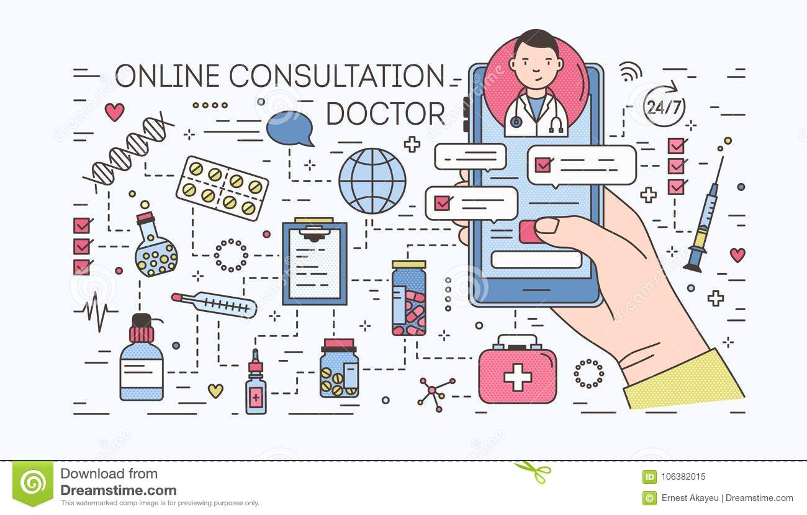 Main tenant le smartphone avec la causerie d Internet avec le docteur sur l écran contre des pilules et des médecines sur le fond