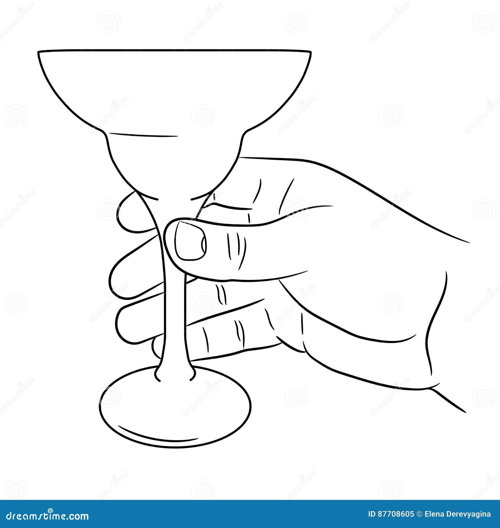 Main tenant le verre de cocktail de l illustration