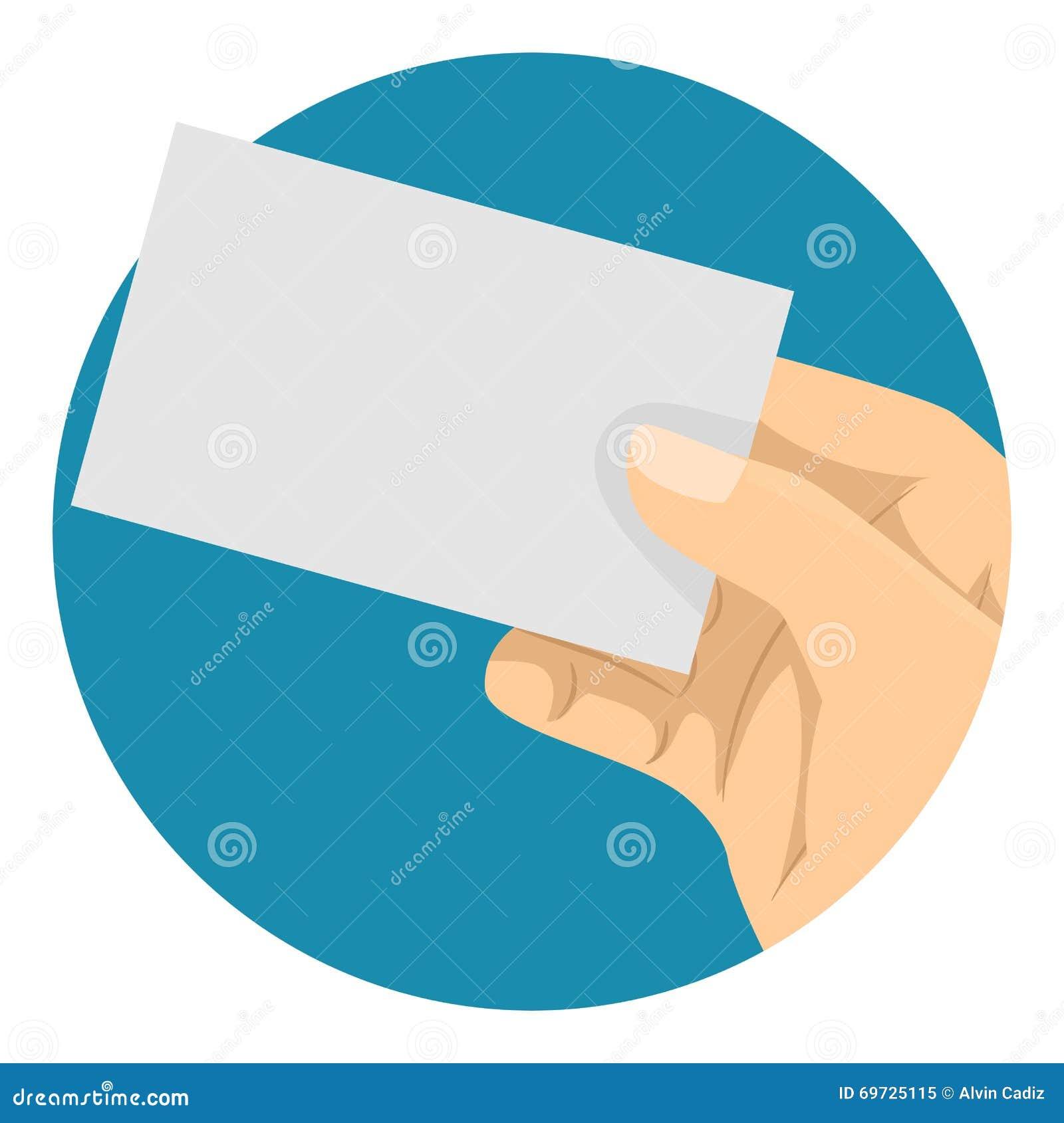 Main Tenant Une Carte De Visite Professionnelle Vierge L Arrire Plan Bleu