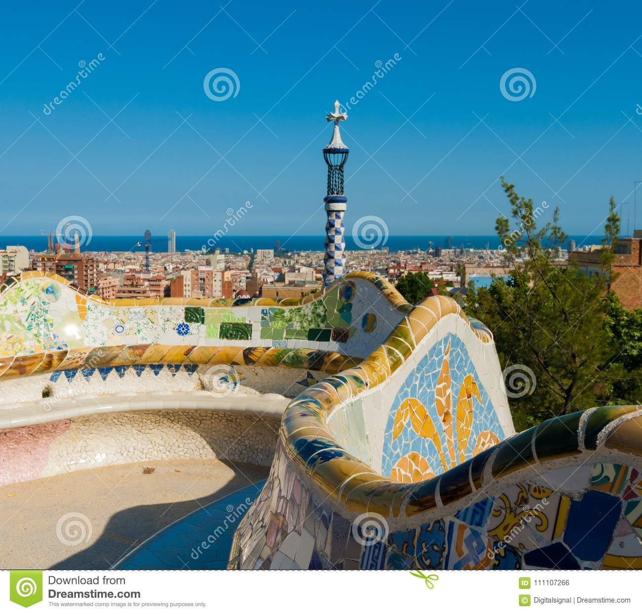 Main Terrace In The Park Guell Barcelona Spain Editorial