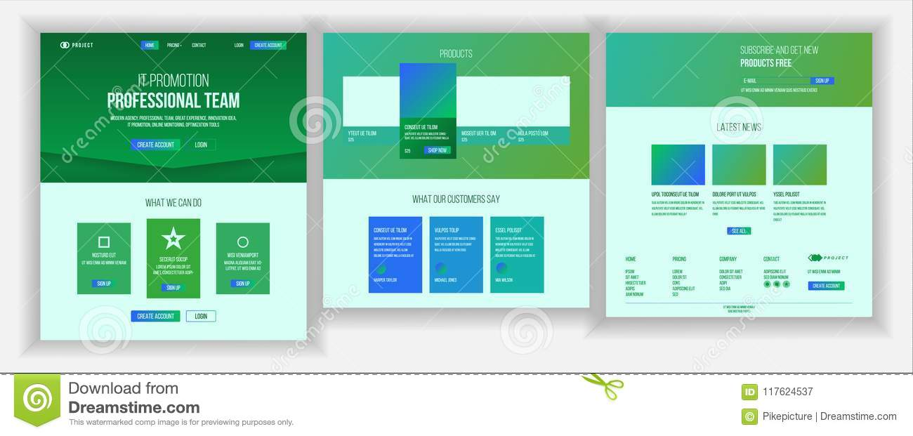 Main Web Page Design Vector Website Business Screen Landing