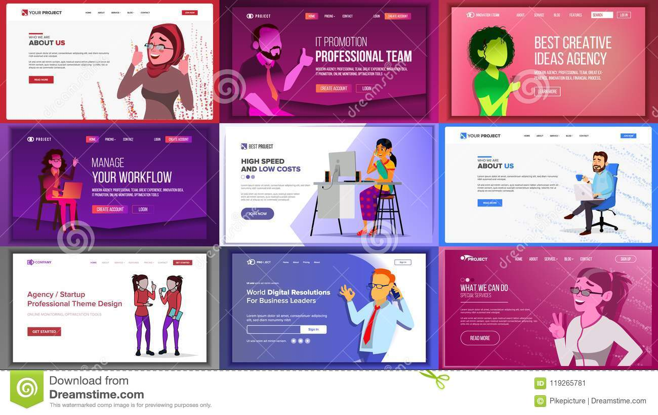 Main Web Page Design Vector. Website Business Screen ...