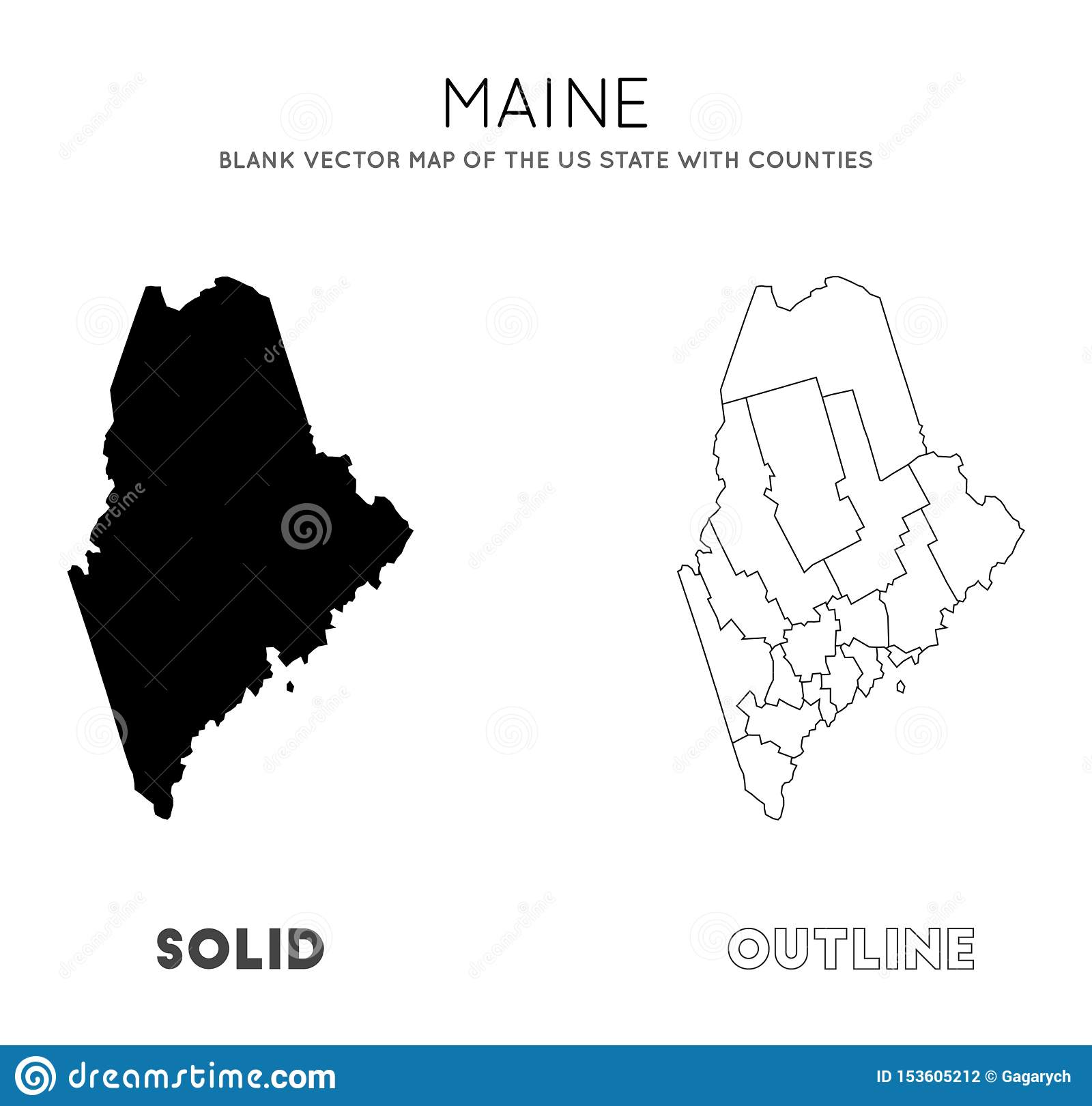 Maine map. stock vector. Illustration of outline, design ...