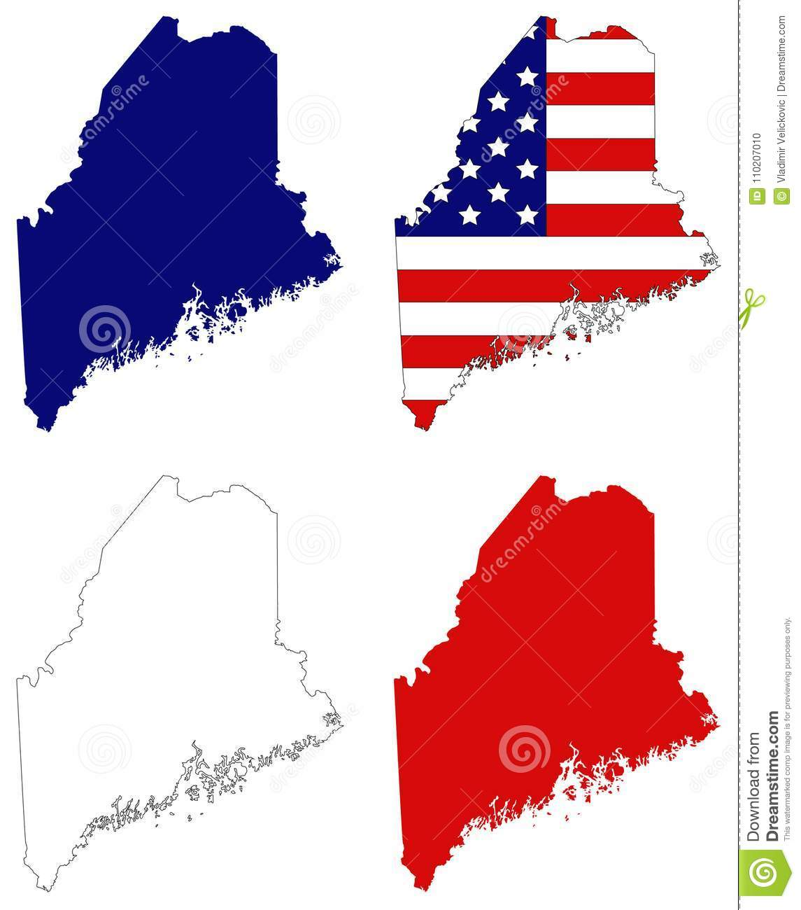 Maine Map Usa.Maine Map With Usa Flag State In The New England Region Of The