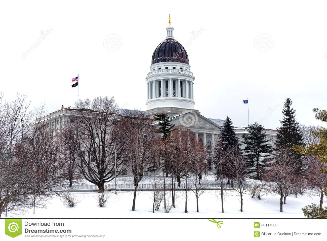 Maine State Capitol in Winter