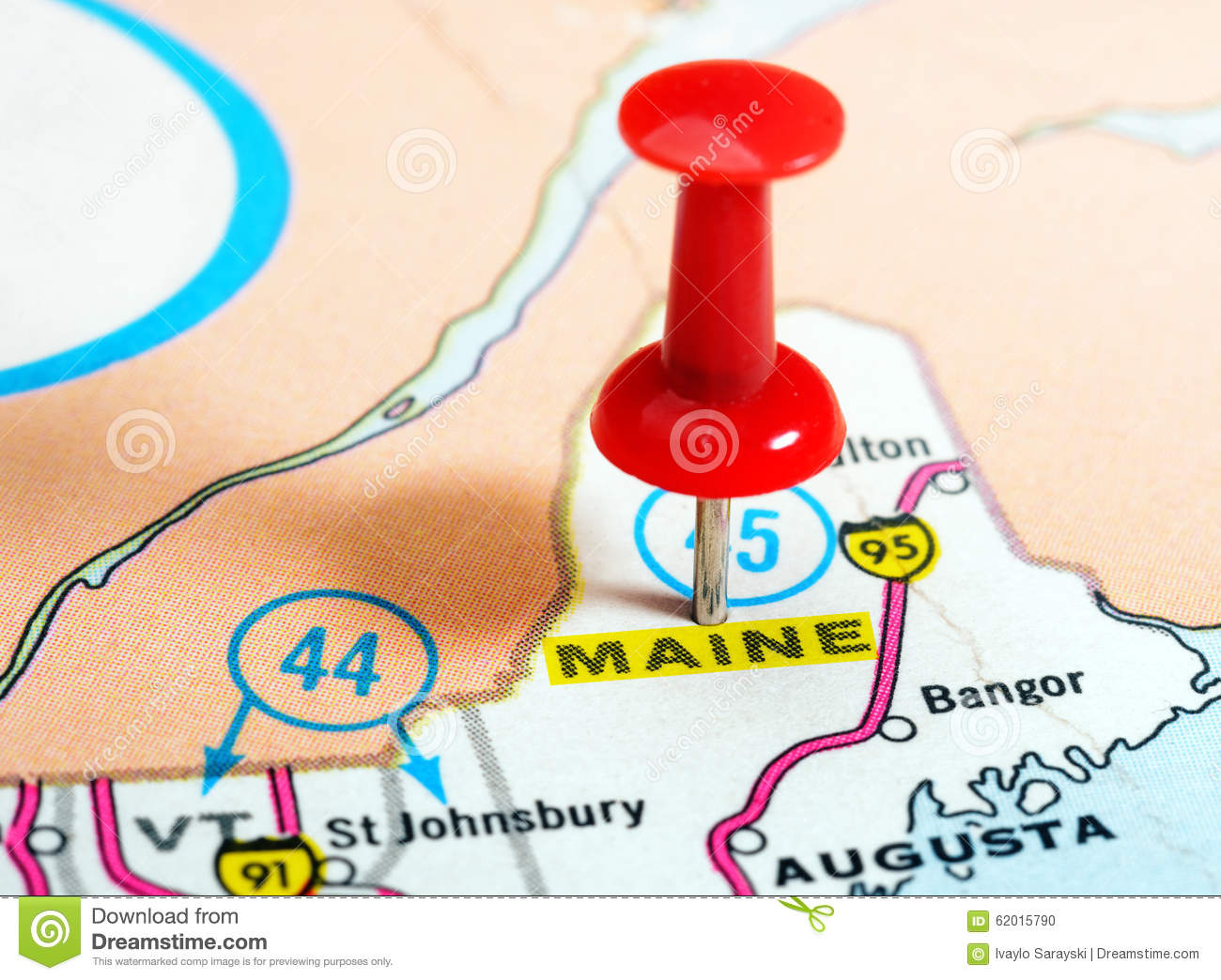 Maine State USA Map Photo Image 62015790 – Maine Travel Map