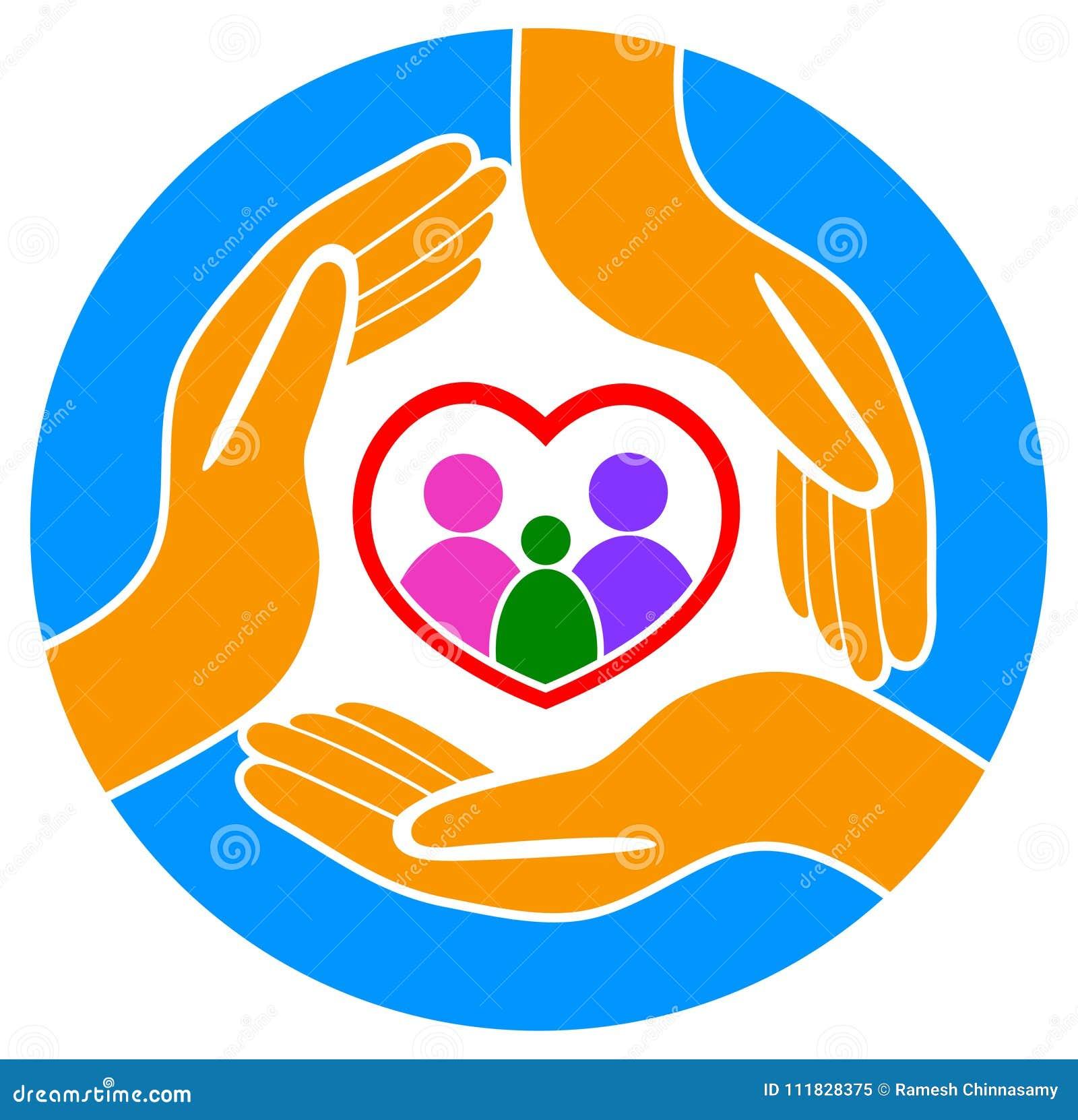 Mains autour du logo de famille