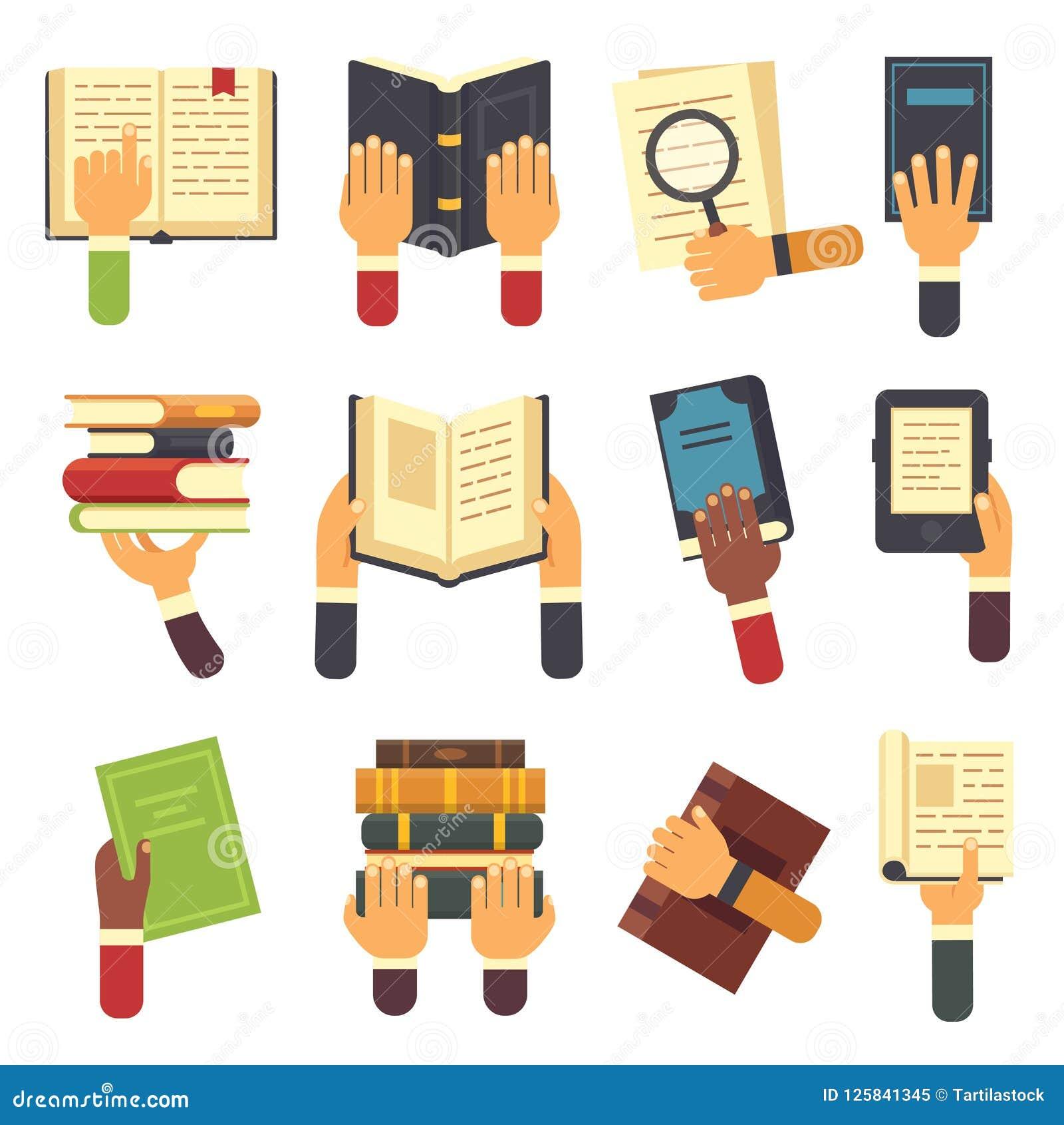 Mains avec des livres Jugeant le livre disponible, lisant l ebook et le lecteur apprenant l icône ouverte de manuel Icônes de vec