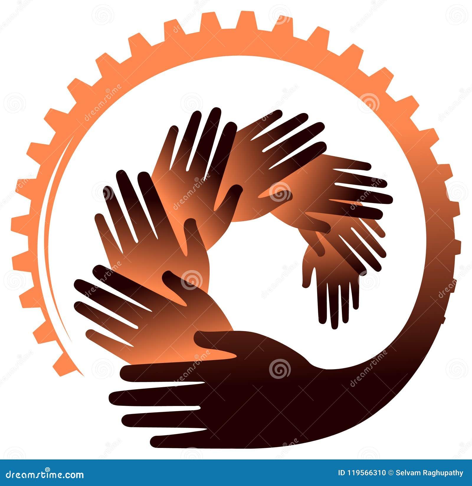Mains avec l image de vecteur de roue dentée