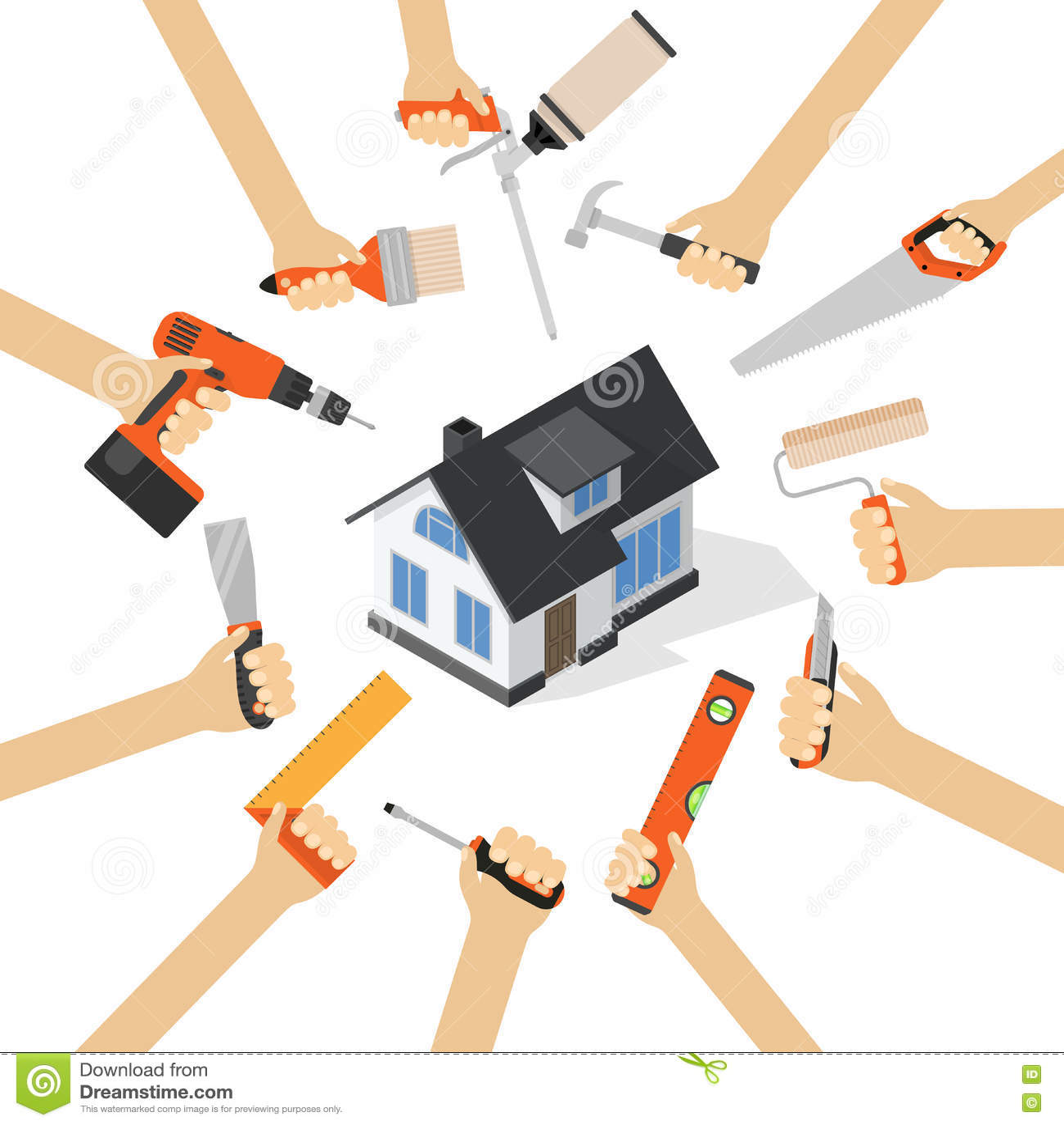 mains avec les outils diy des travaux domestiques de r novation de r paration la maison. Black Bedroom Furniture Sets. Home Design Ideas