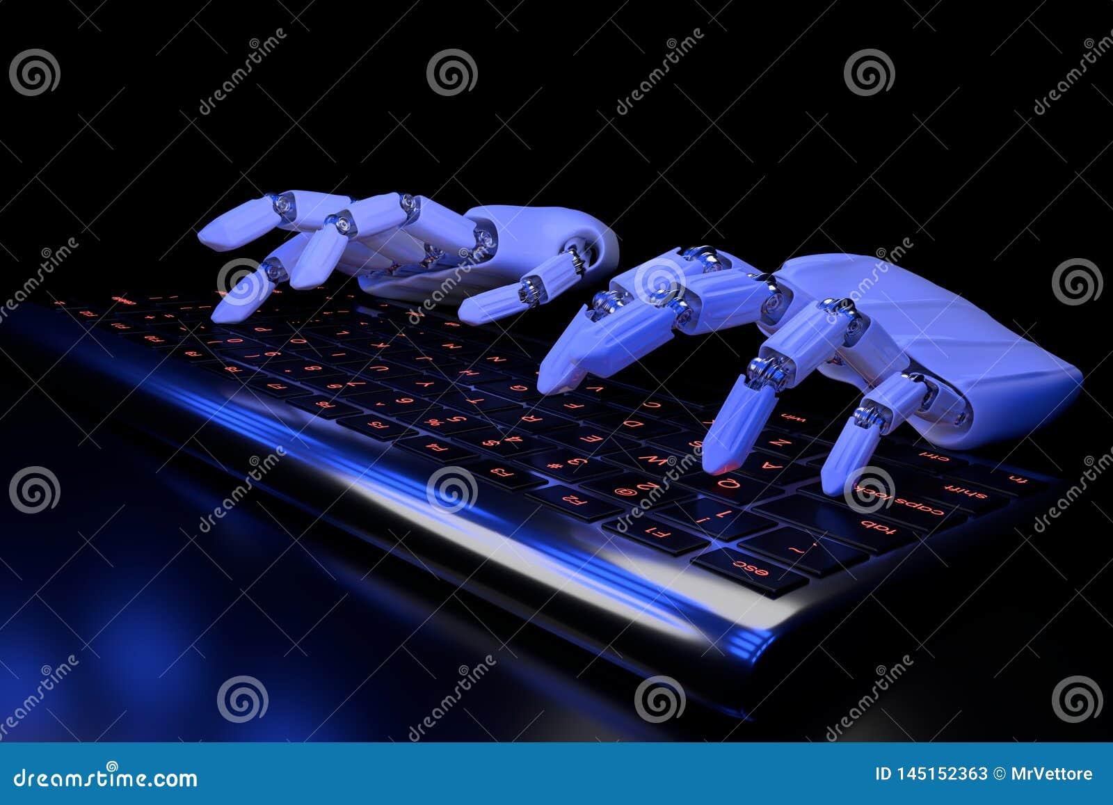 Mains bioniques dactylographiant sur le clavier Cyborg robotique de bras ? l aide de l ordinateur l illustration 3d rendent Conce