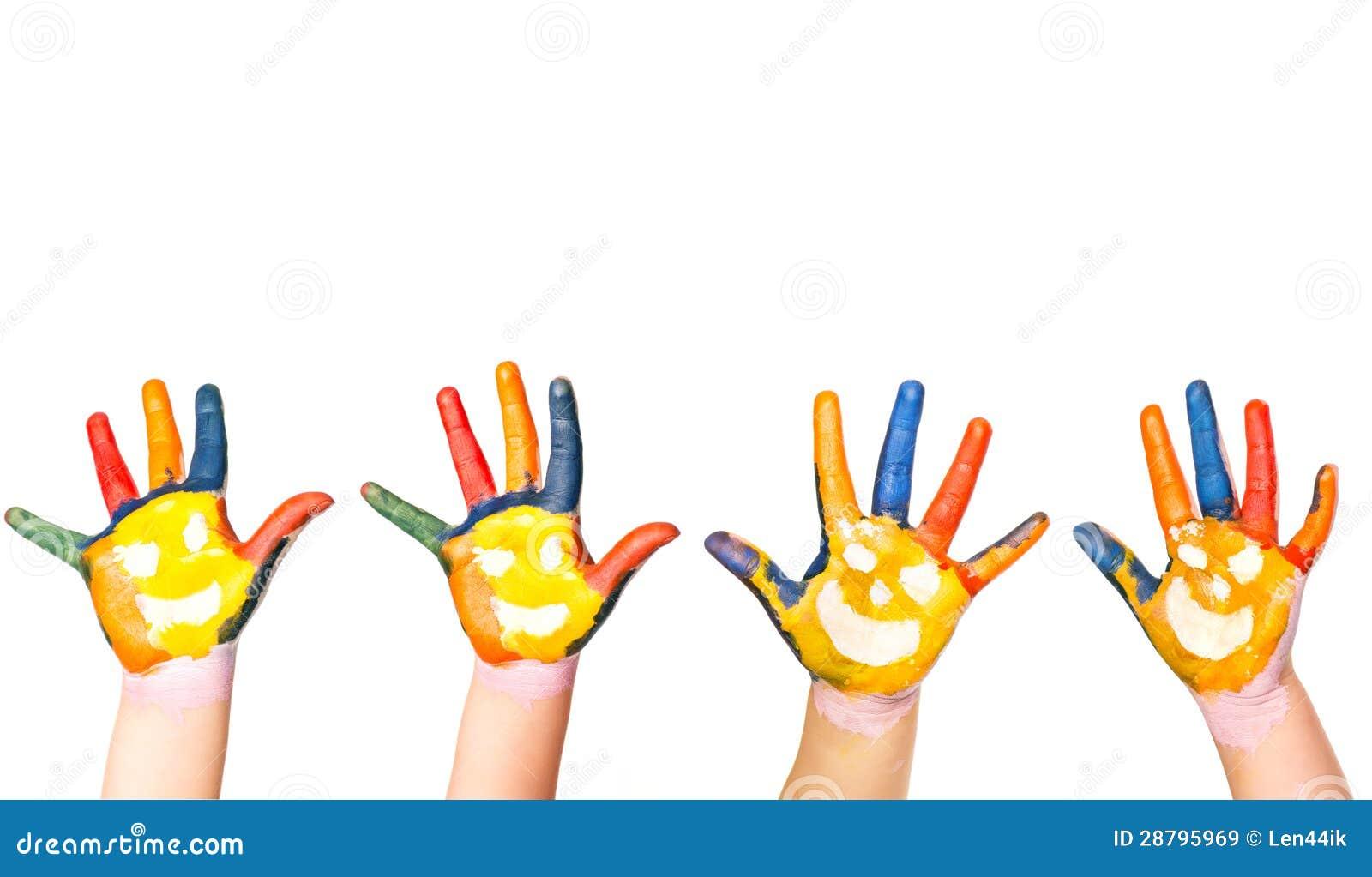 Mains d 39 enfants en peinture color e avec des sourires image stock image 28795969 - Peinture main enfant ...