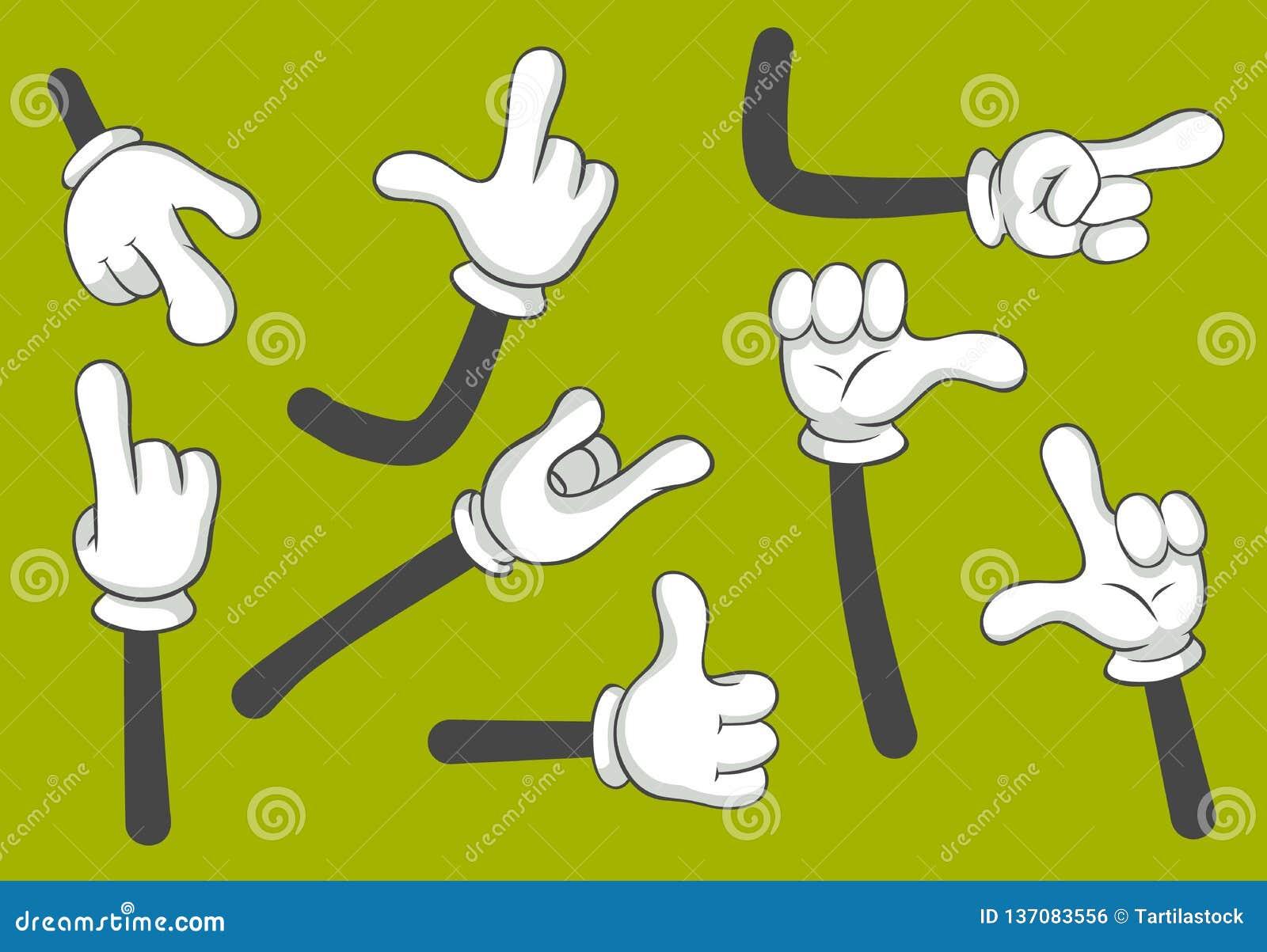 Mains de bande dessinée Mains enfilées de gants Ensemble d illustration d isolement par vecteur