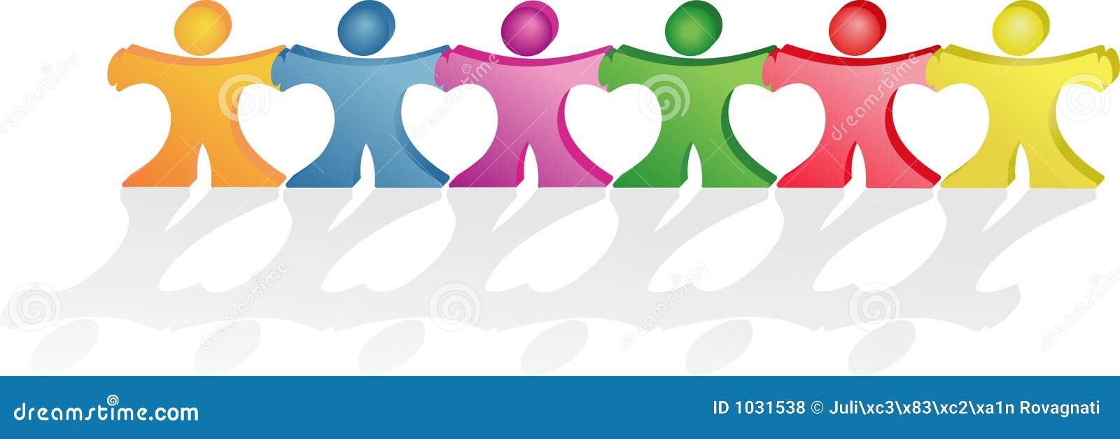 Mains de fixation de gens effectuant ensemble des formes de coeurs