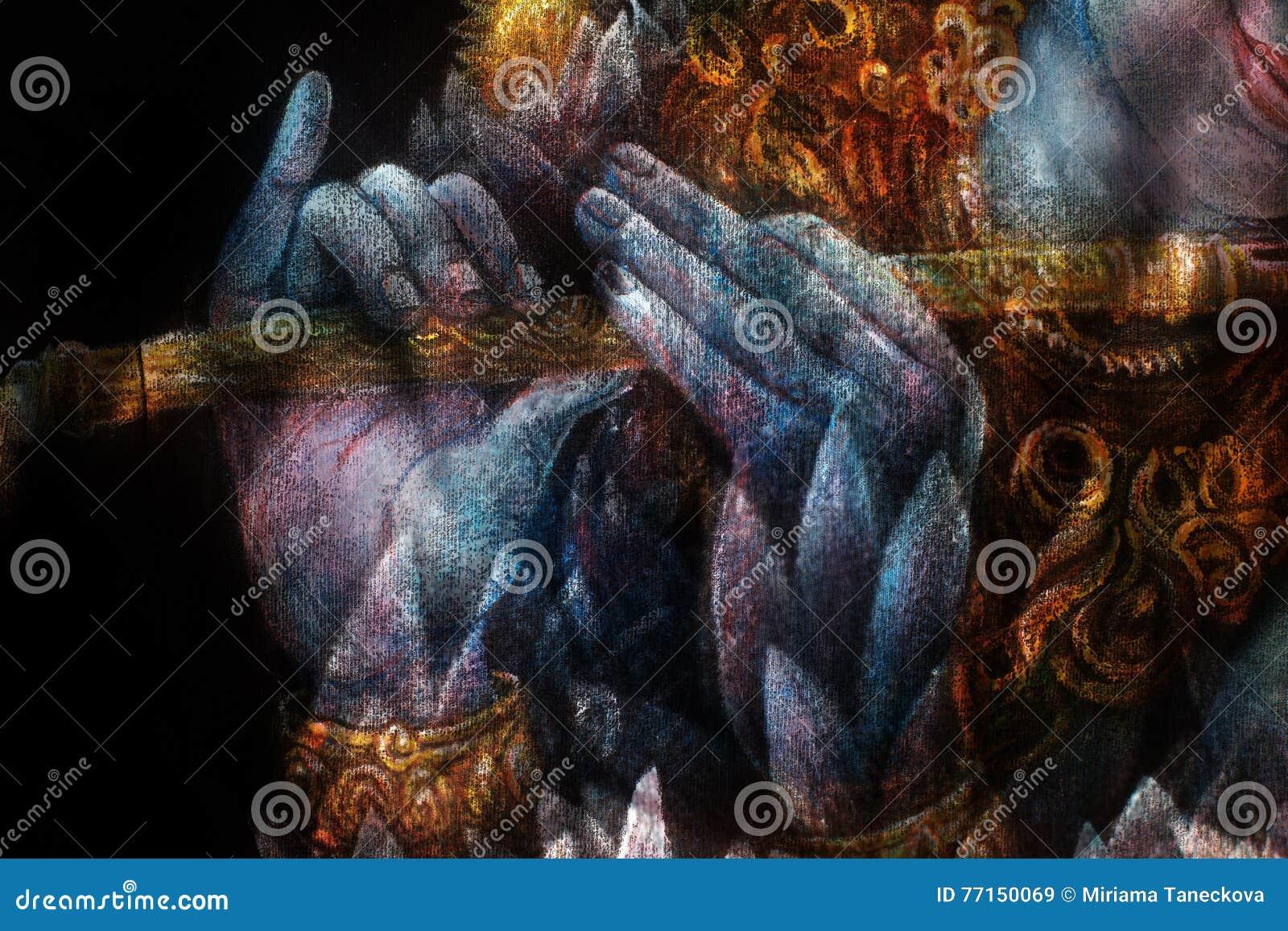 Mains de krishna de seigneur jouant la cannelure, détail avec le modèle de lotus