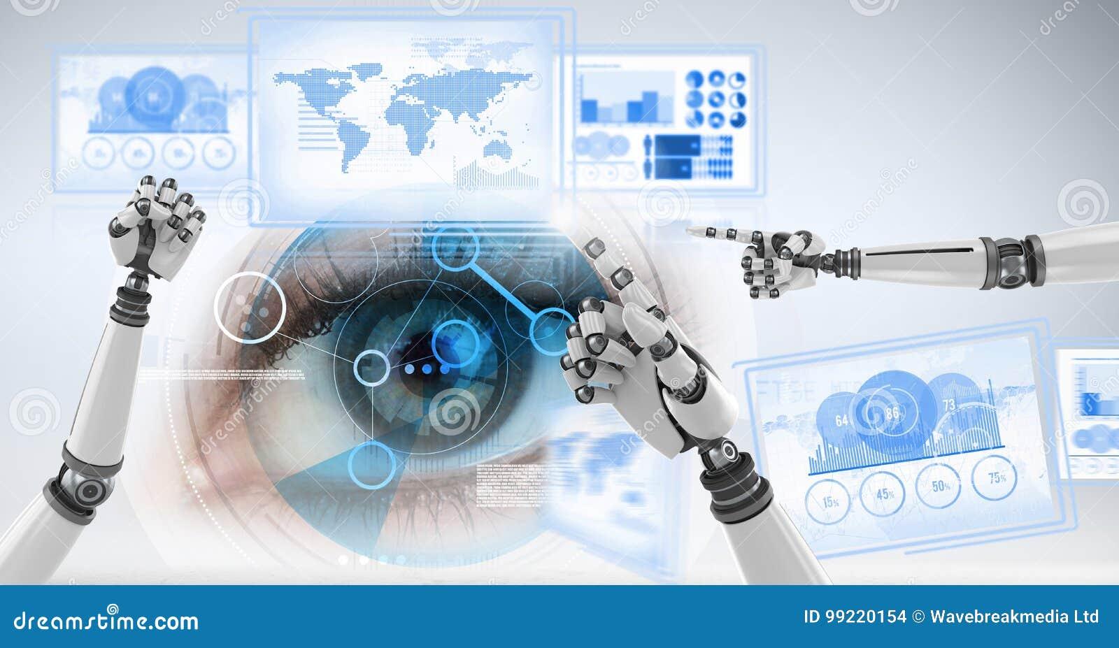 Mains de robot agissant l un sur l autre avec des panneaux d interface de technologie