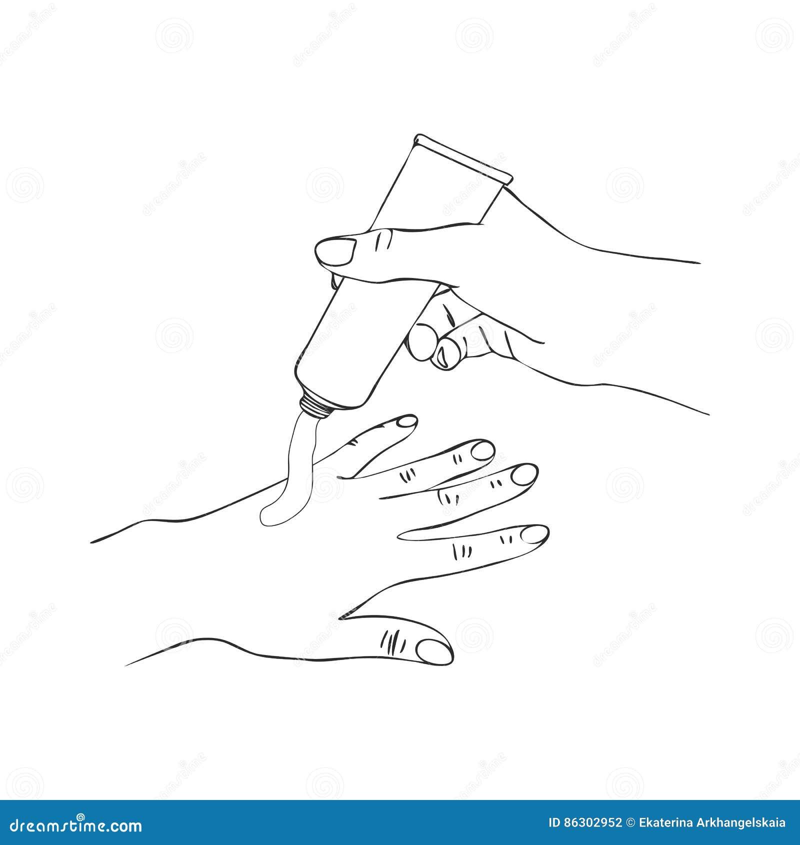 Mains de vecteur avec le tube crème cosmétique