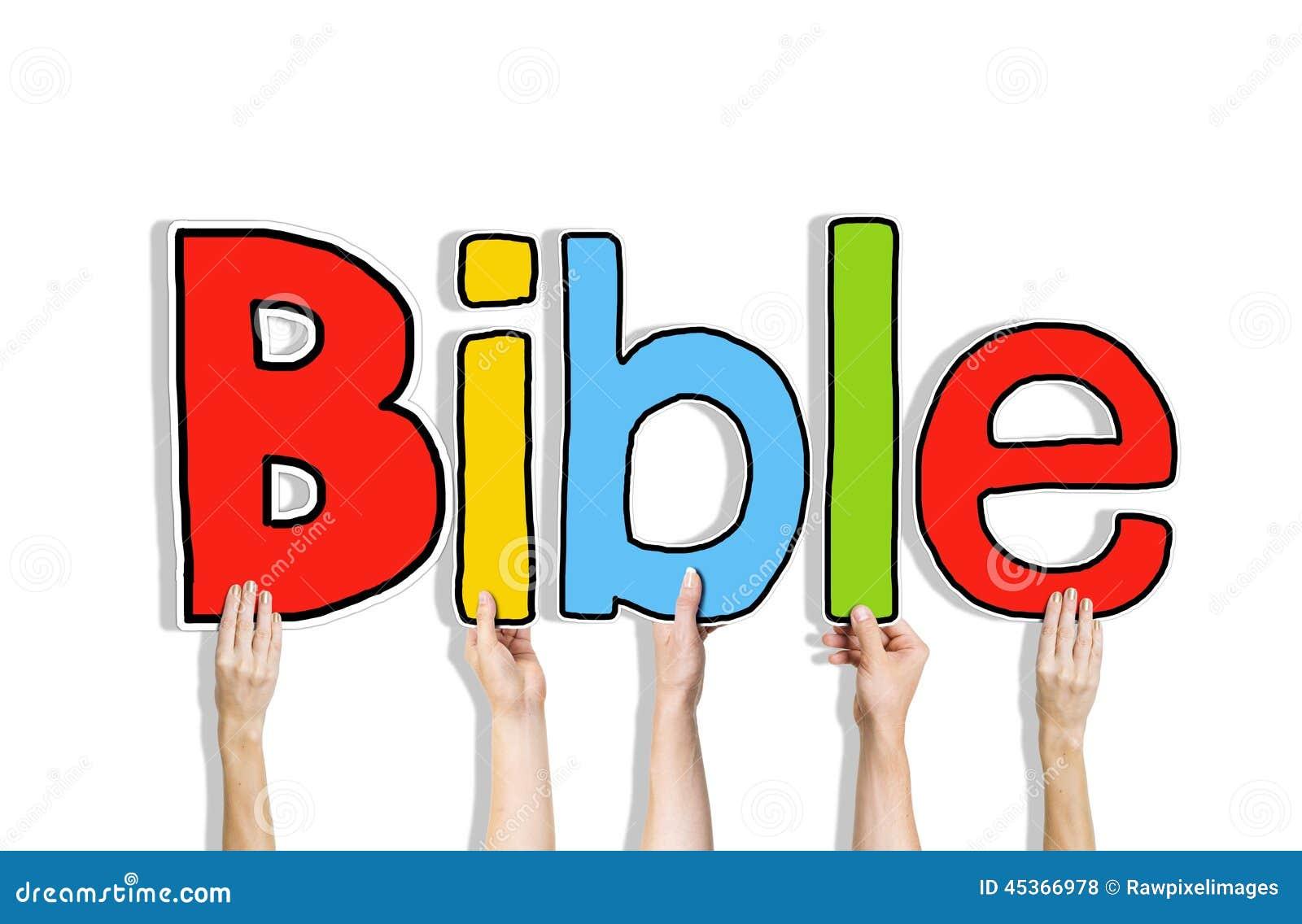 Mains diverses tenant la bible de Word