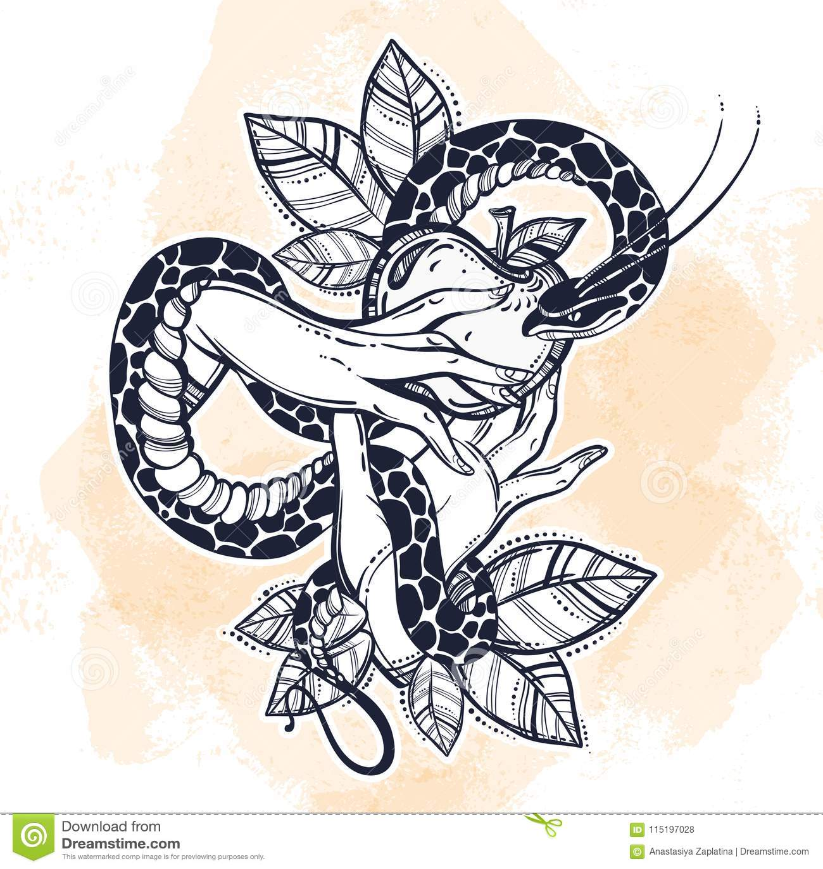 Mains Du S D Eve Avec Le Fruit Defendu Et Le Serpent Art Tire Par