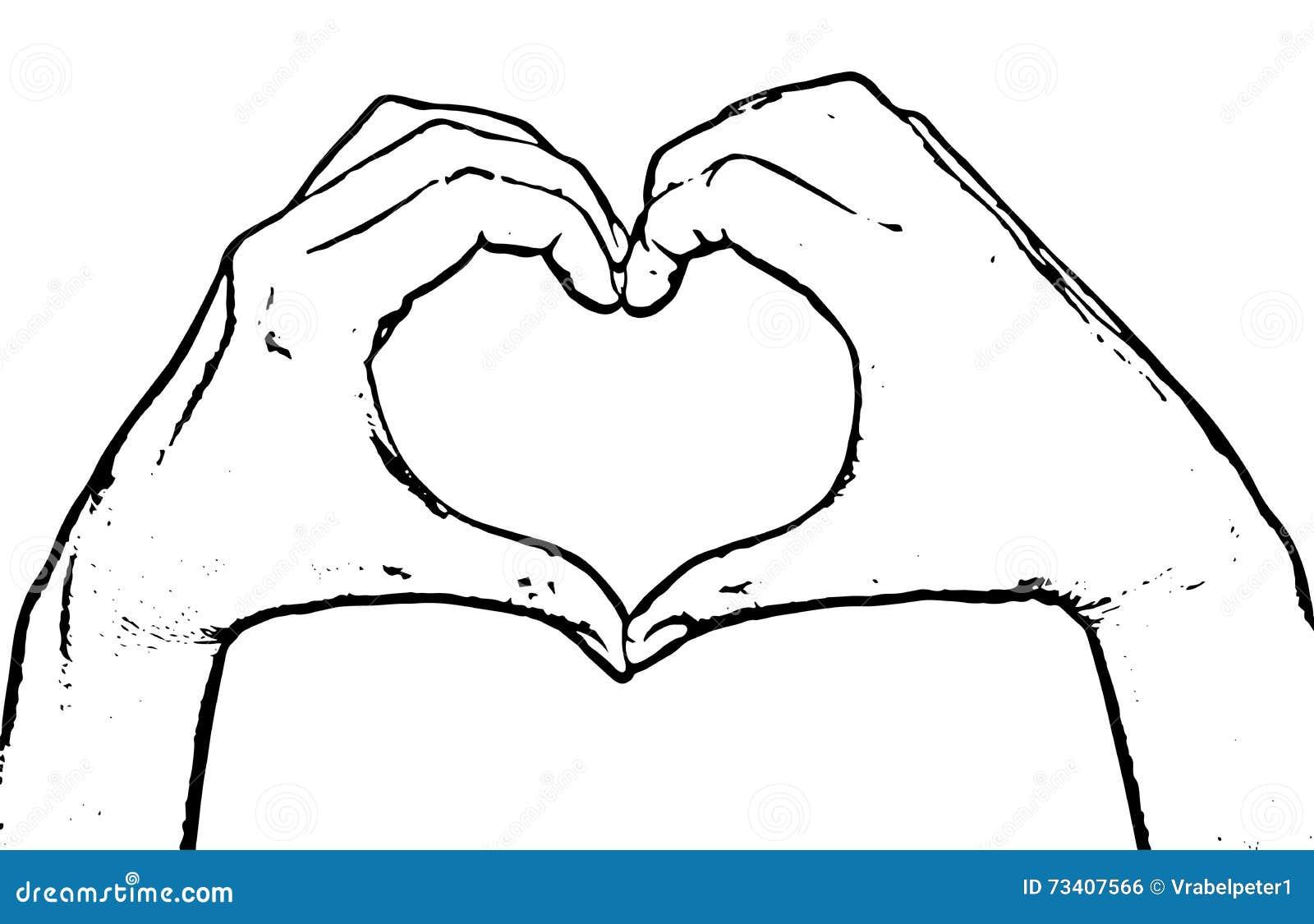 Line Drawing Heart Shape : Mains femelles faisant le coeur de forme graphique