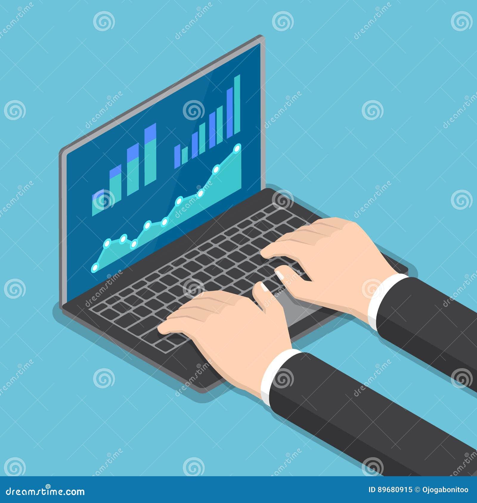 Mains isométriques d homme d affaires utilisant l ordinateur portable avec le rapport financier