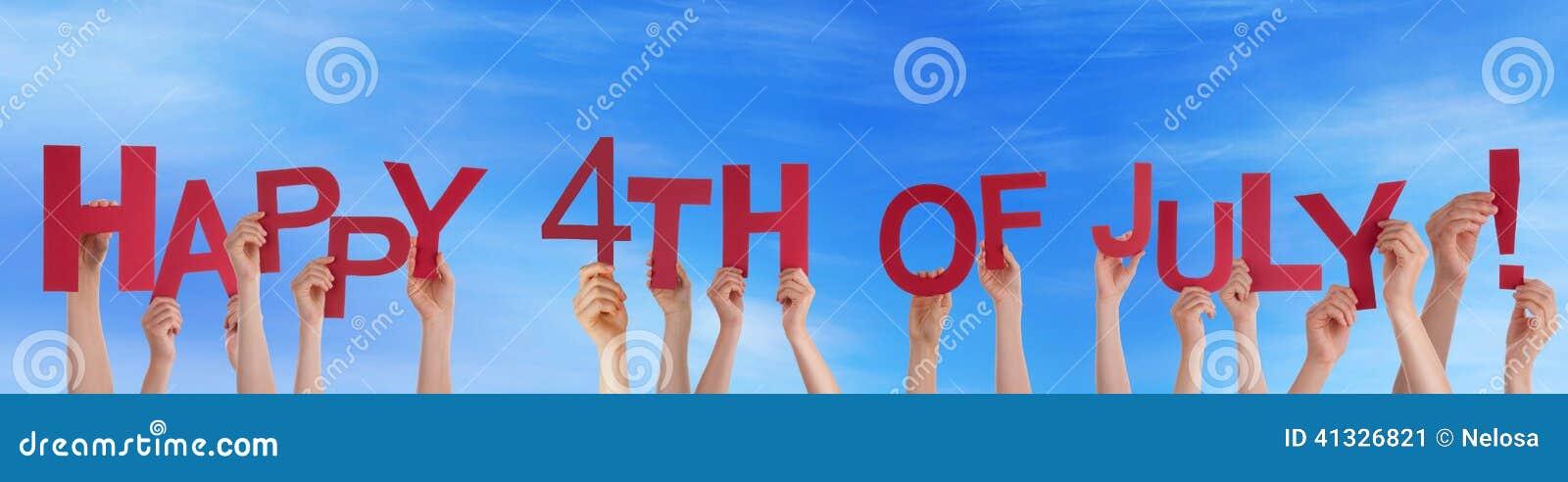 Mains jugeant heureuses le 4ème juillet dans le ciel