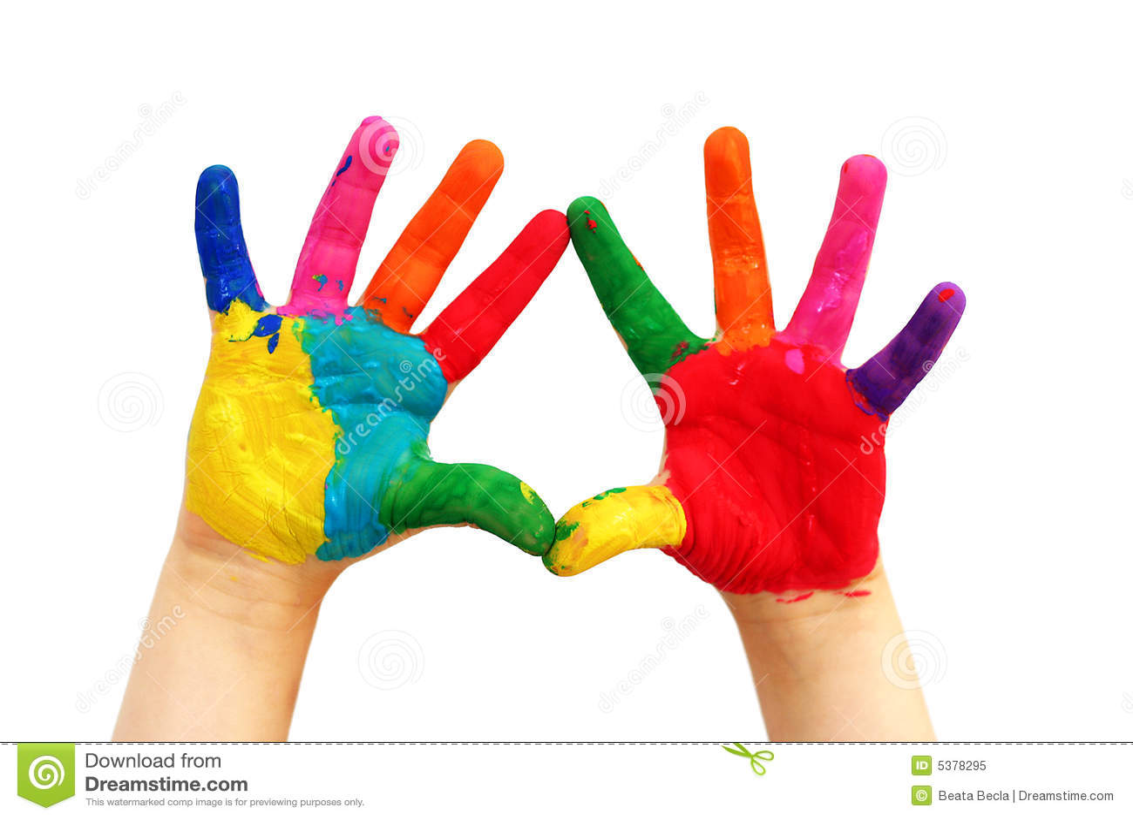 Mains peintes d 39 enfant photo libre de droits image 5378295 - Peinture main enfant ...
