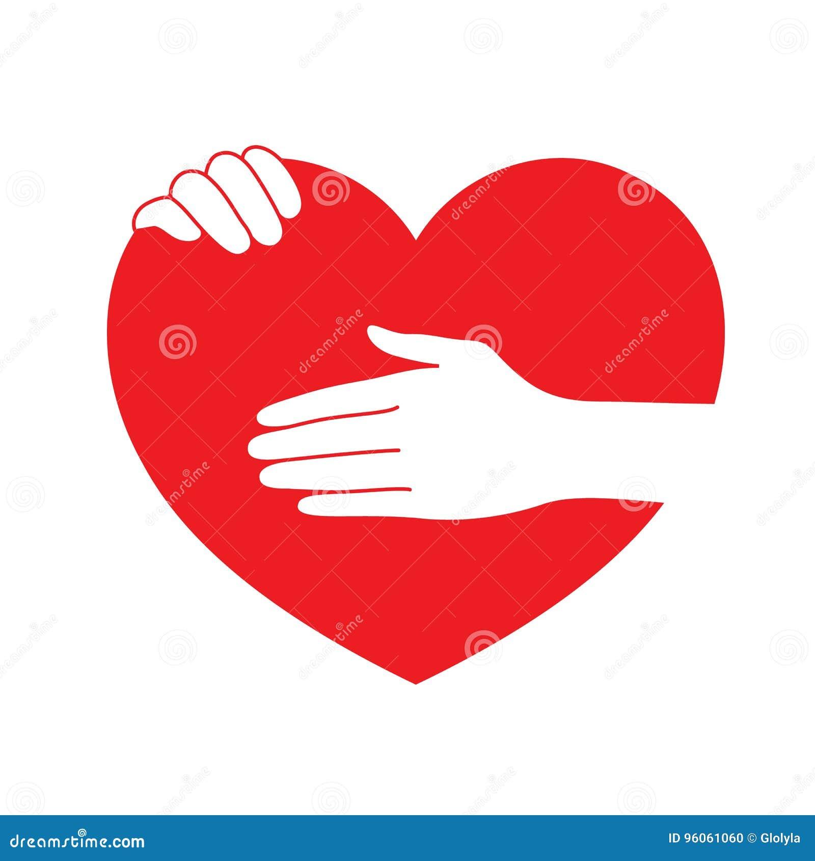 Mains retenant le coeur rouge
