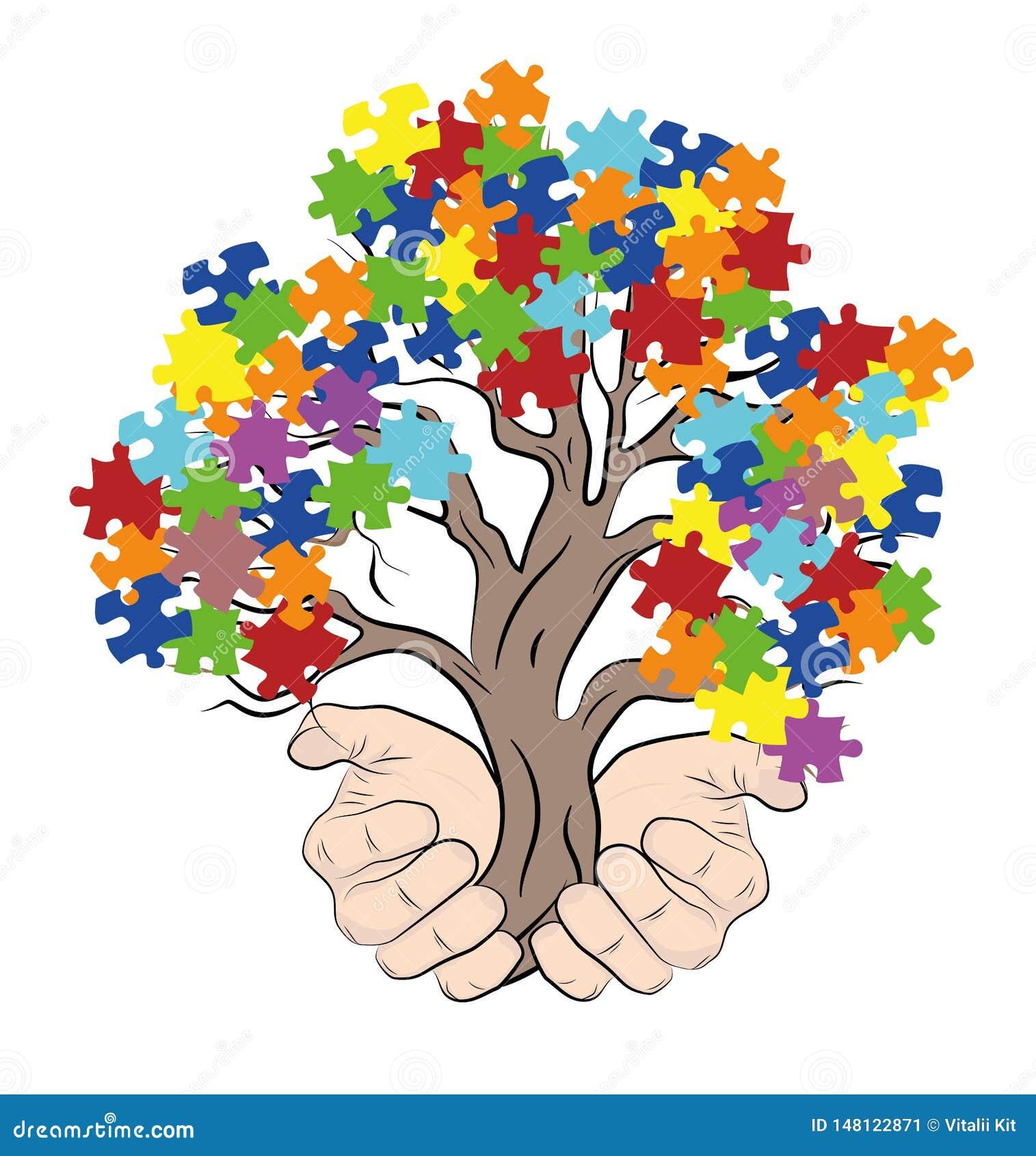 Mains tenant un arbre avec des puzzles autism Illustration de vecteur