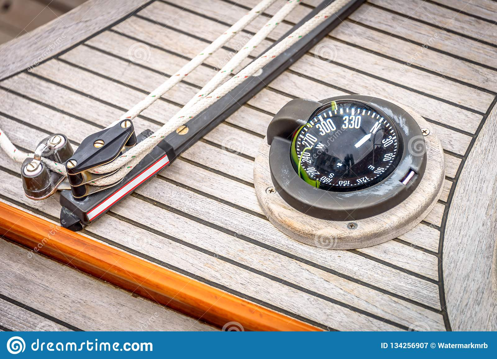 Mainsheet Traveler And Compass Stock Image - Image of yacht