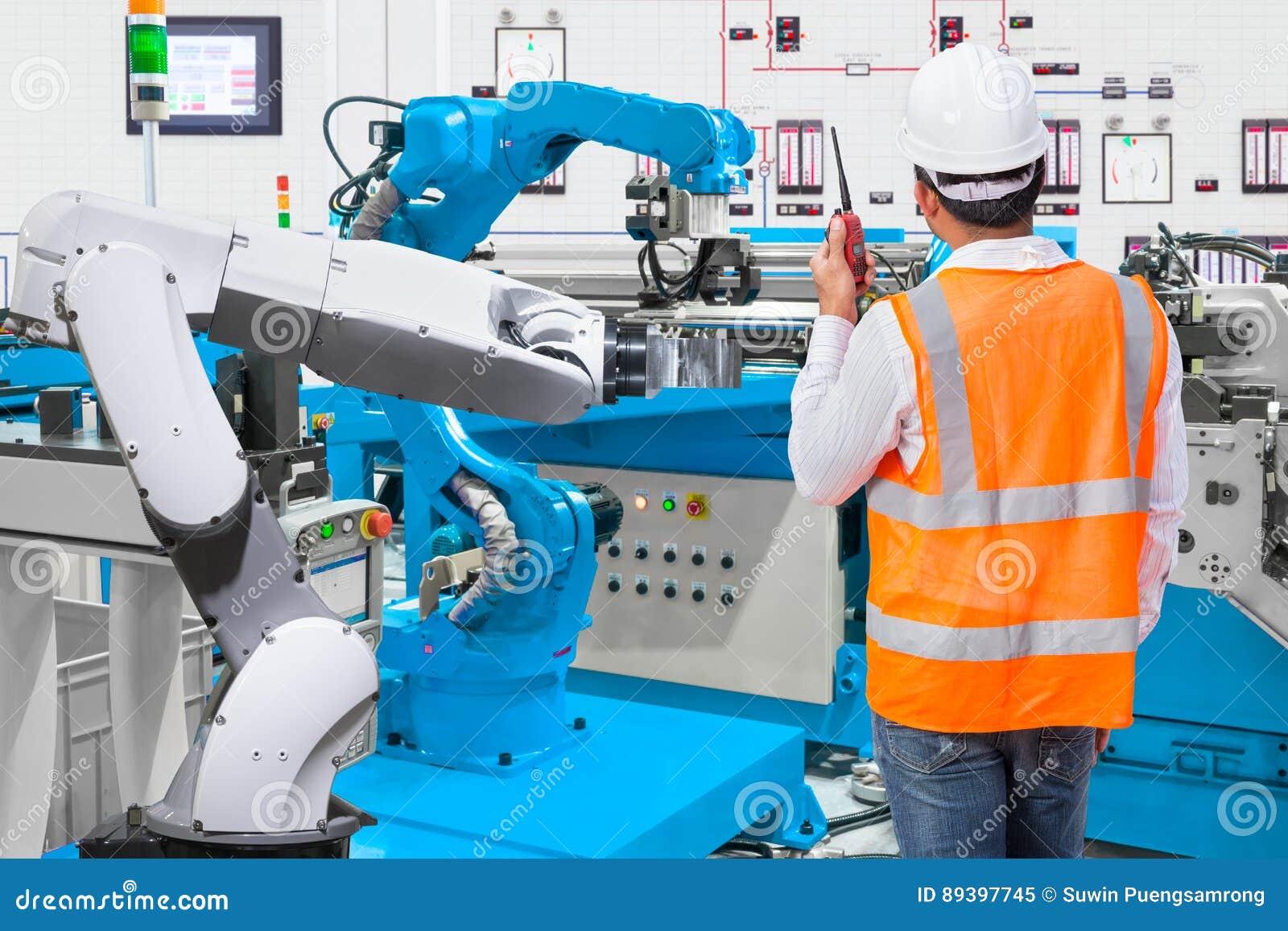 Maintenance engineer control automatic robotic hand machine tool