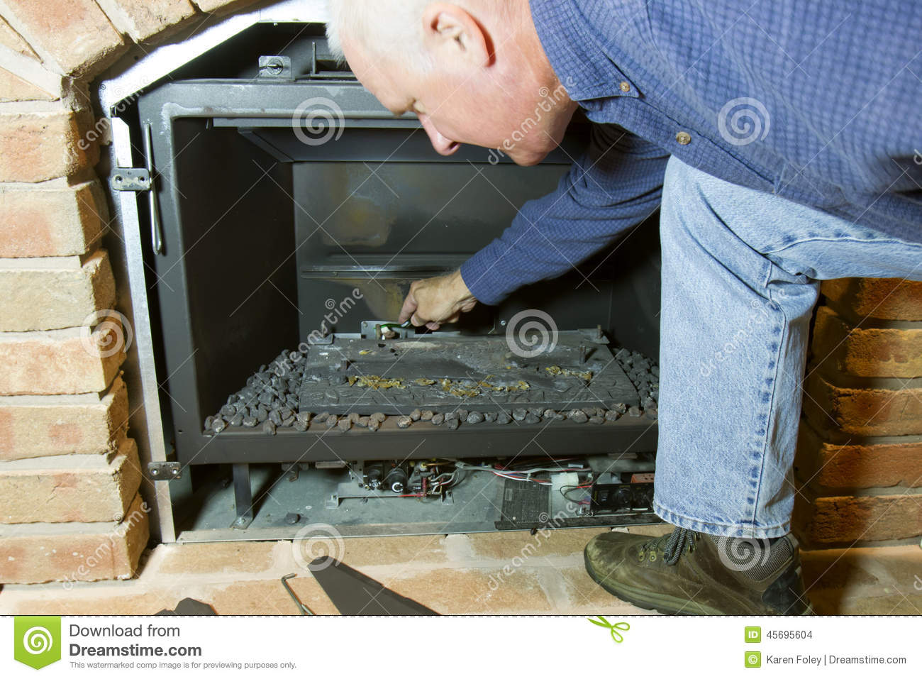 Maintenance For Gas Fireplace Stock Photo Image 45695604