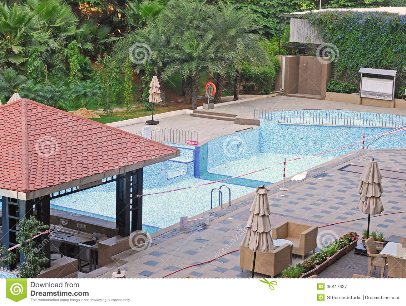 Maintenance of swimming pool royalty free stock - Hotel with swimming pool on balcony ...