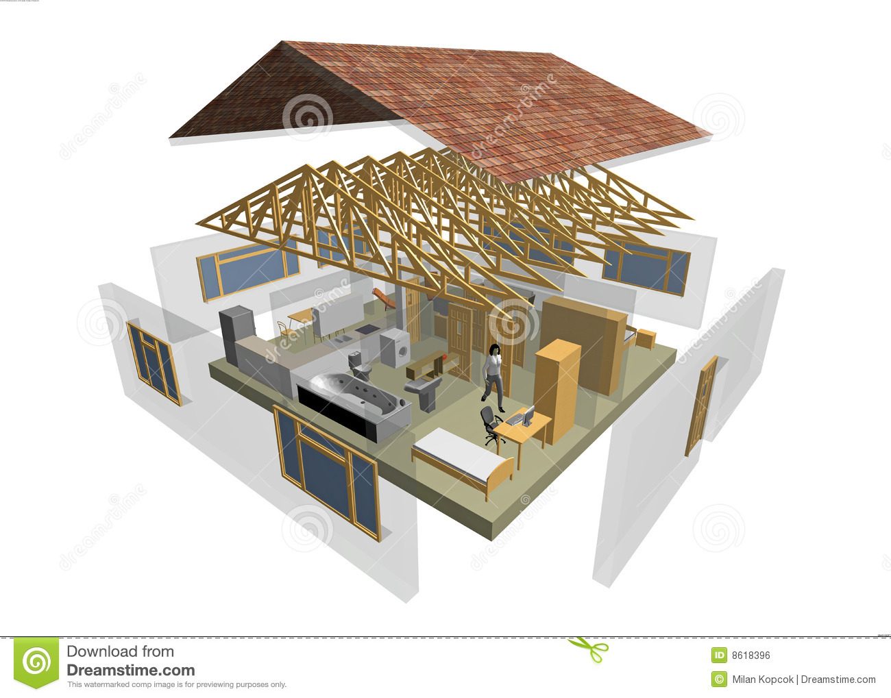 Maison 3d illustration stock image du document dessin for Architecture de plan libre