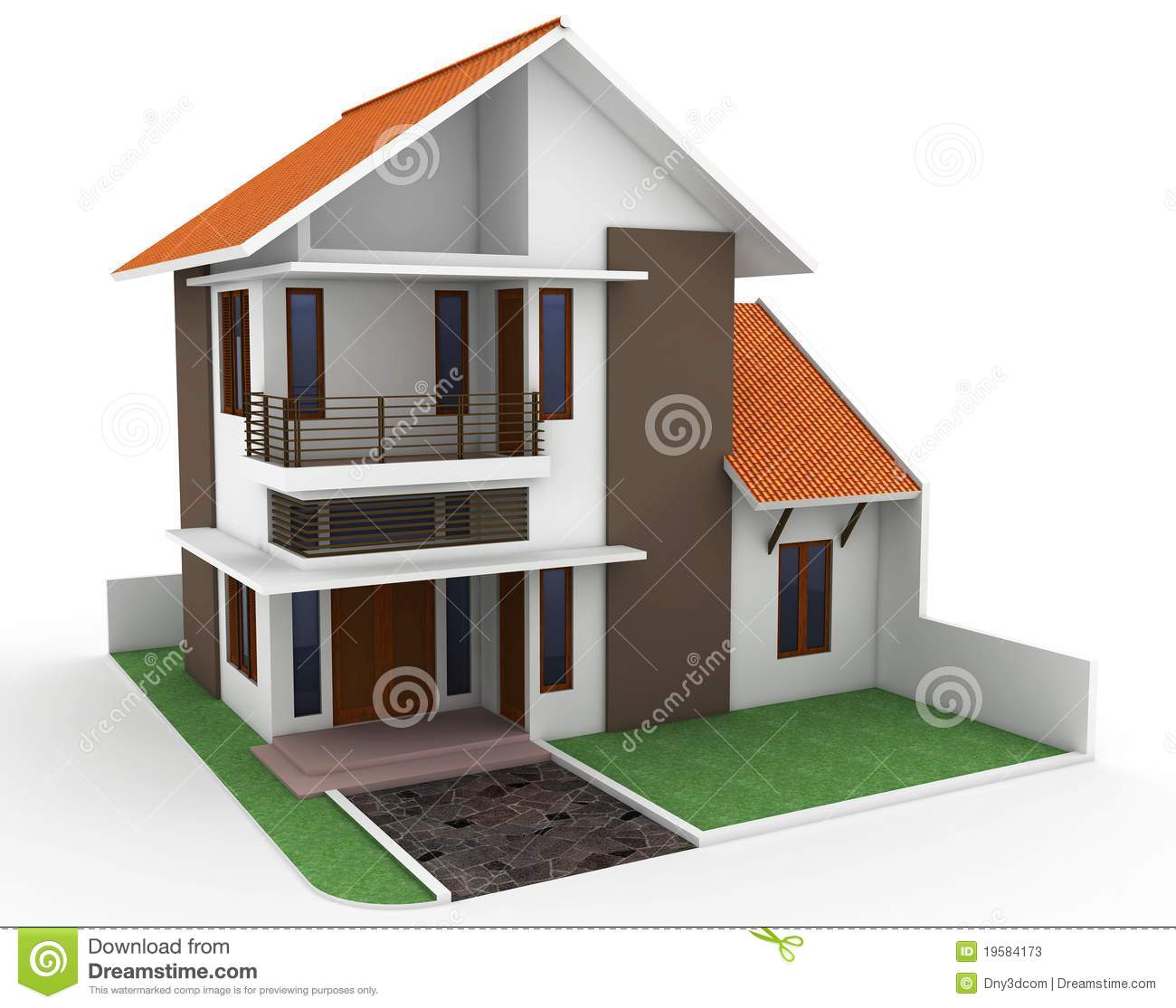 Maison 3d d 39 isolement sur le blanc photos stock image for Maison plan 3d