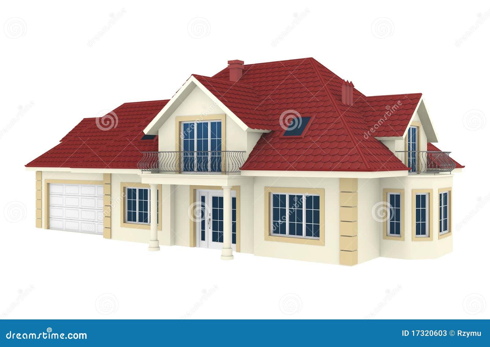 Maison 3d d 39 isolement sur le fond blanc photos stock for Achat maison 3f