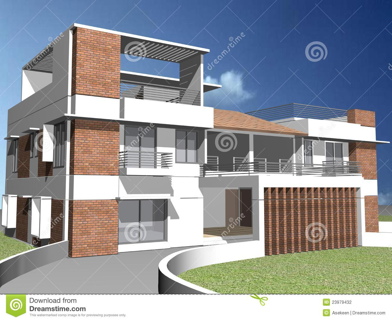 Maison 3d duplex photographie stock image 23979432 for Maison duplex plan