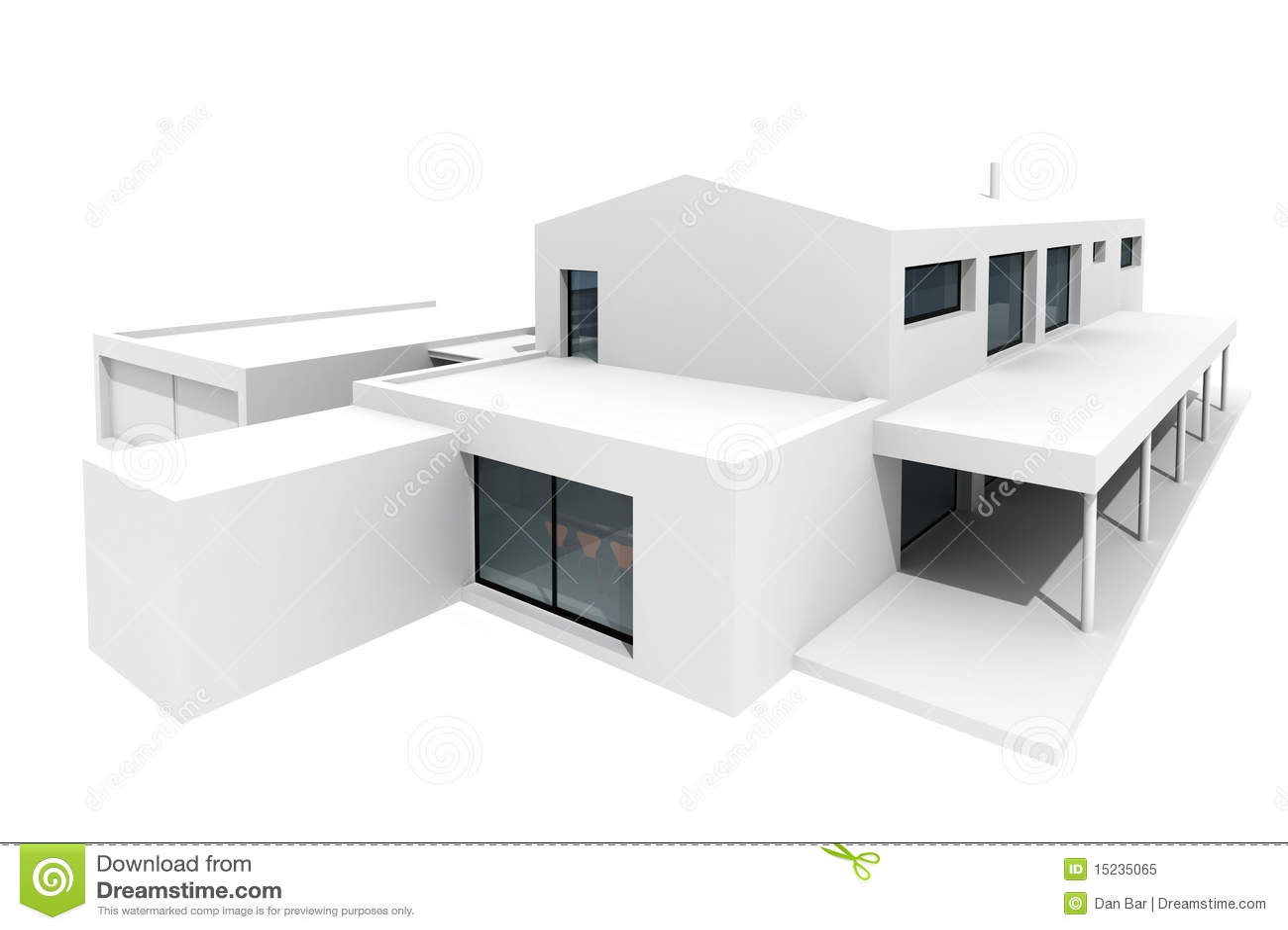 Maison 3d Moderne Sur Le Fond Blanc Photo Libre De Droits