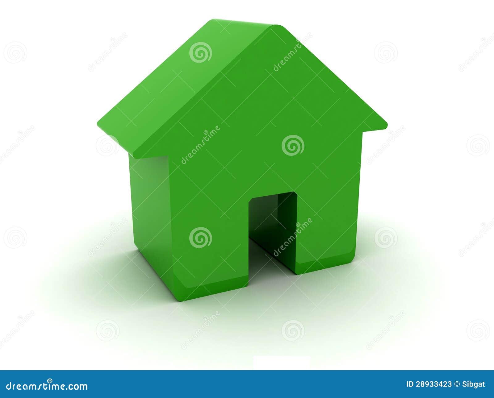 maison 3d verte photos stock image 28933423. Black Bedroom Furniture Sets. Home Design Ideas