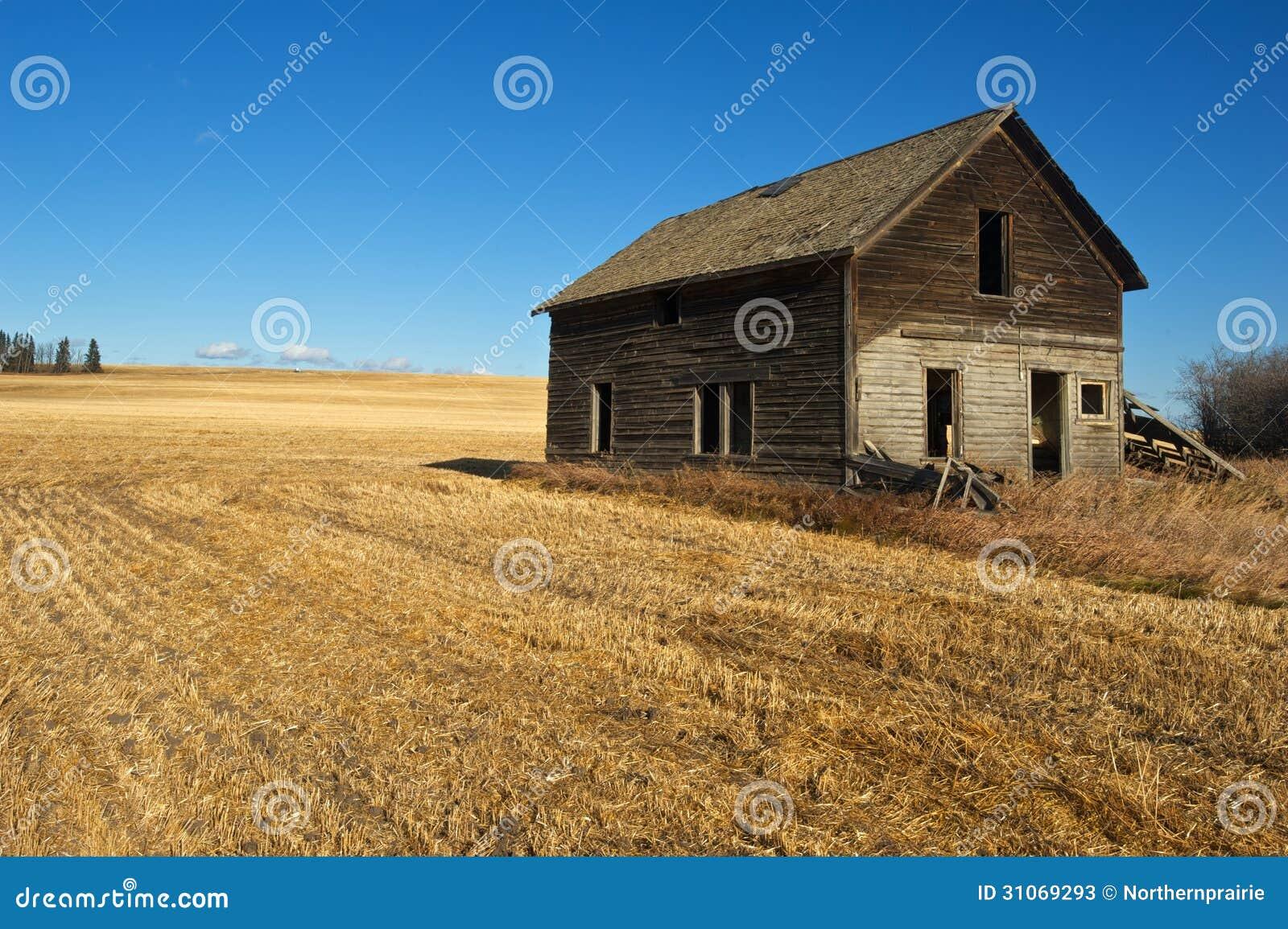Maison abandonnée dans le domaine de blé moissonné