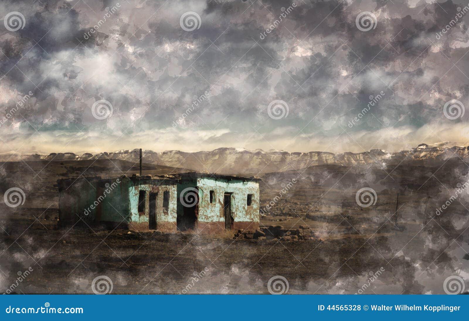 Une illustration dune maison abandonnée sur un paysage isolé avec les montagnes neigeuses à larrière plan