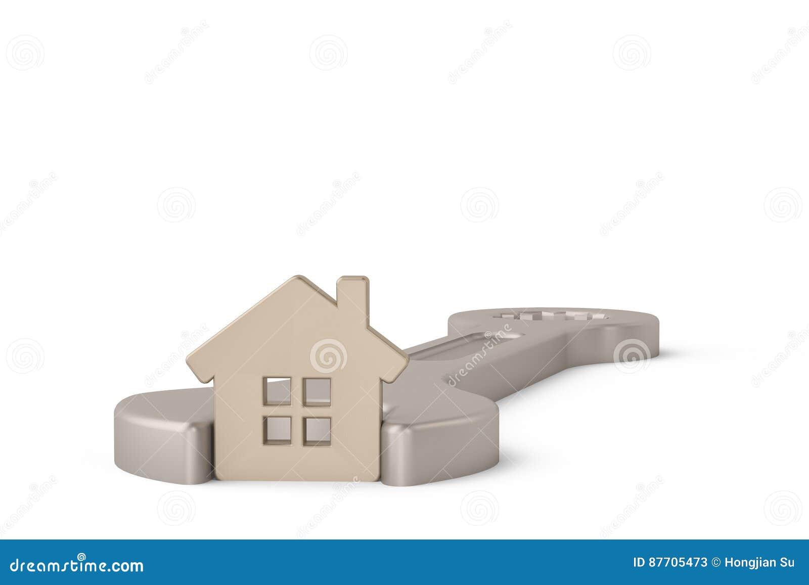Maison argentée dans la clé d isolement sur un fond blanc illustr 3d