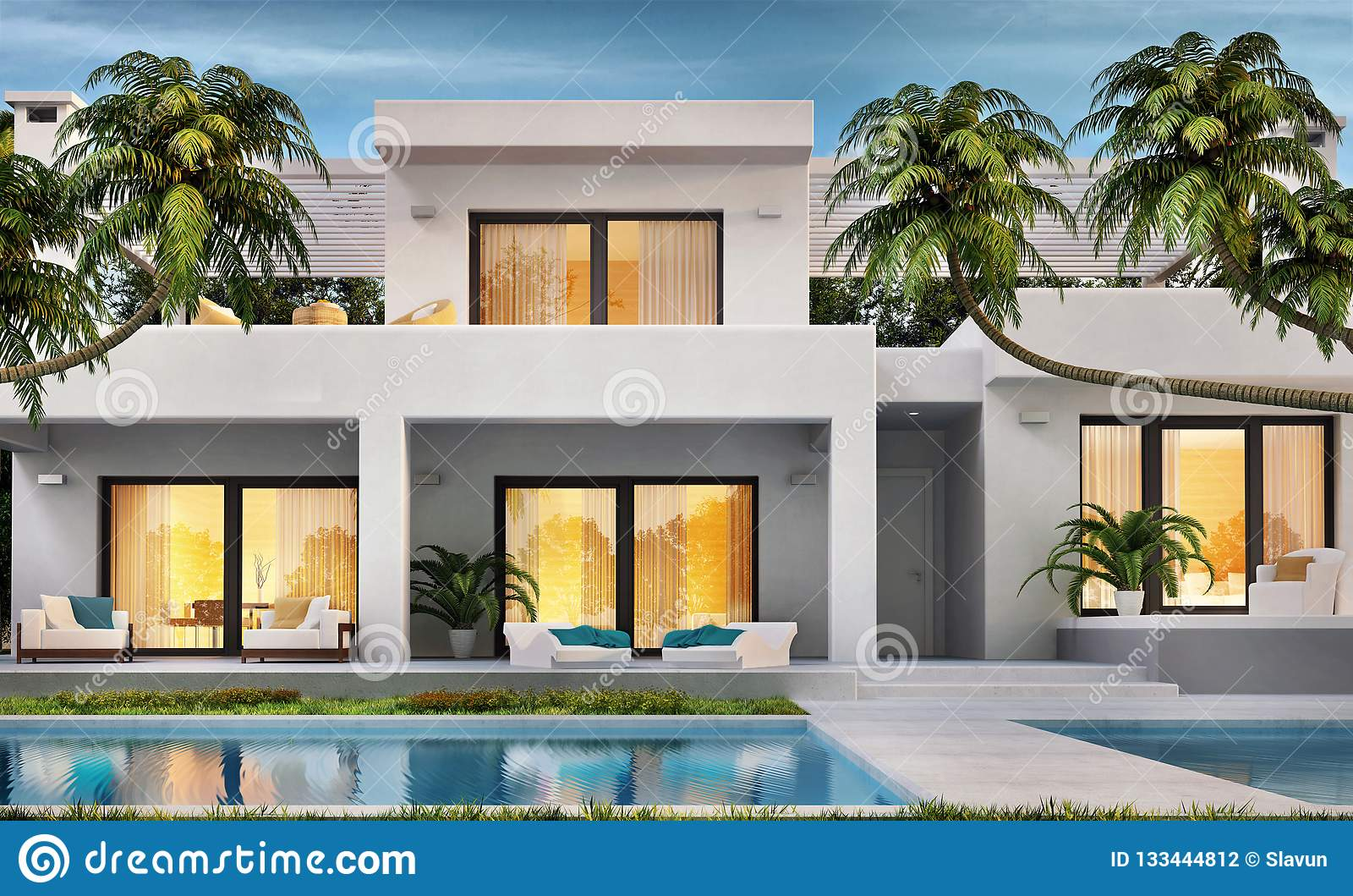 Maison Blanche Moderne Avec La Piscine Photo stock - Image ...